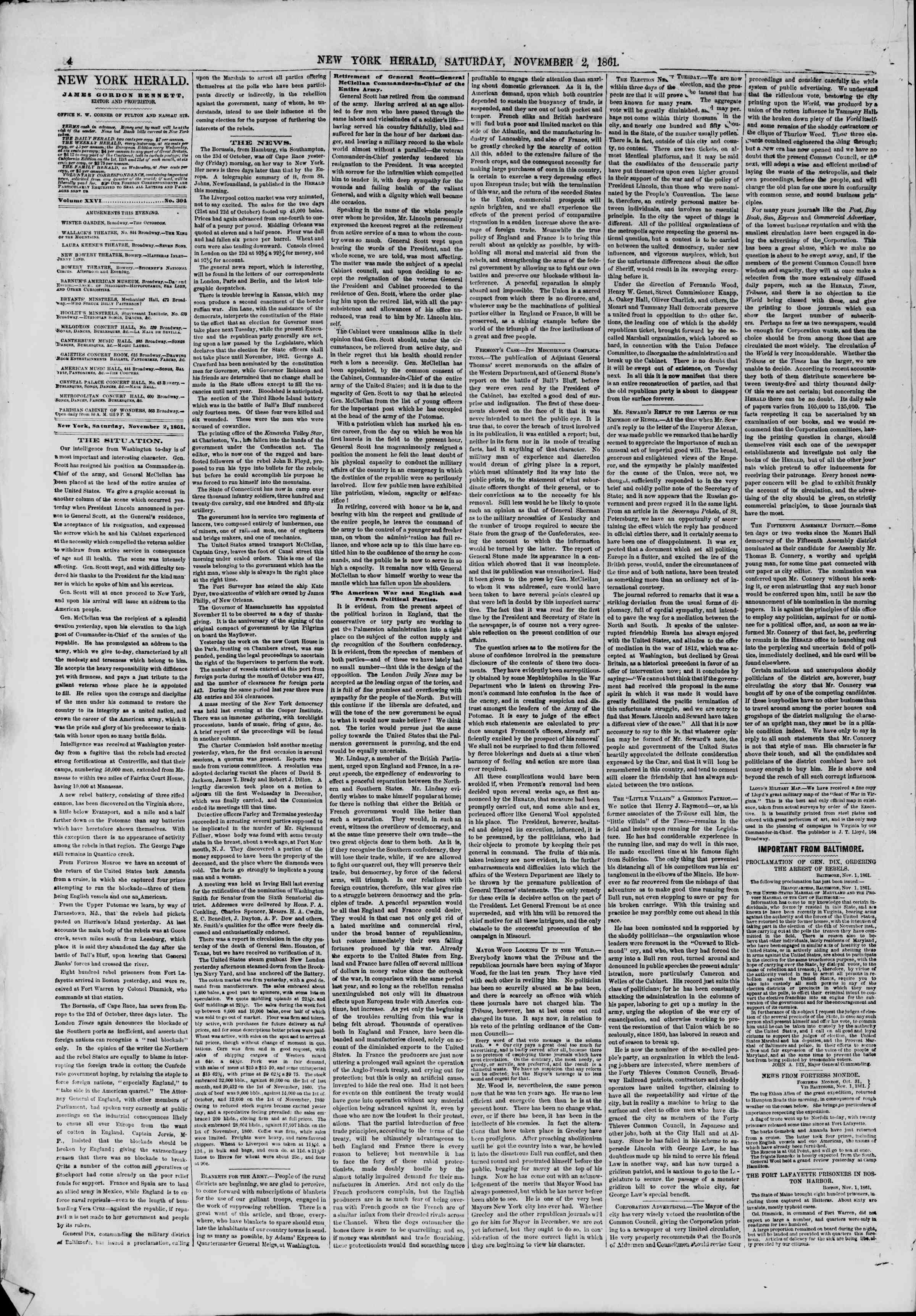 Newspaper of The New York Herald dated November 2, 1861 Page 4