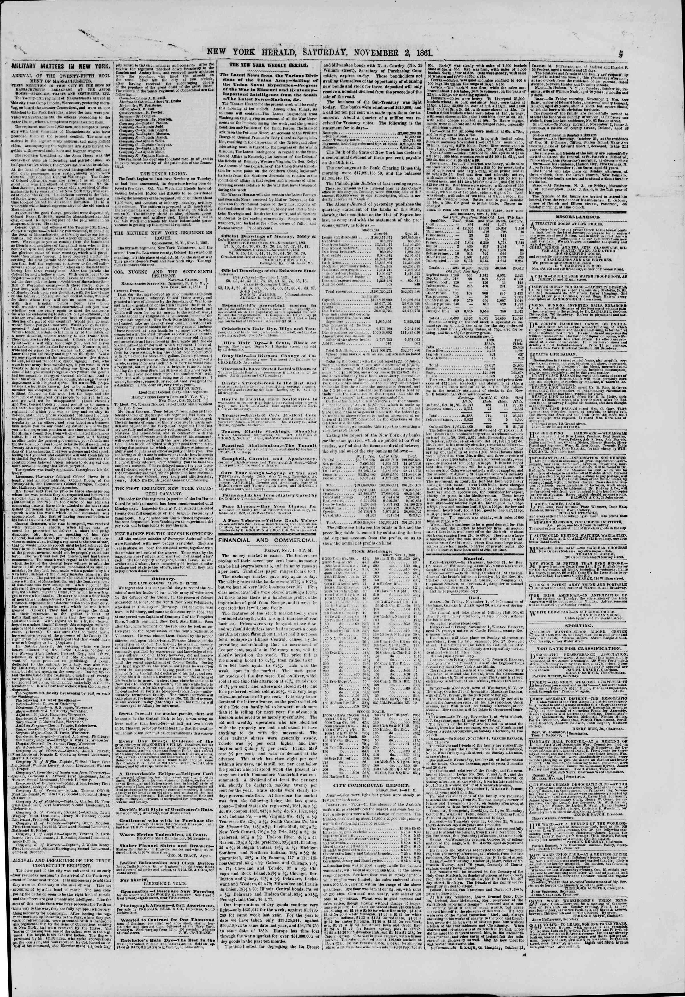 Newspaper of The New York Herald dated November 2, 1861 Page 5