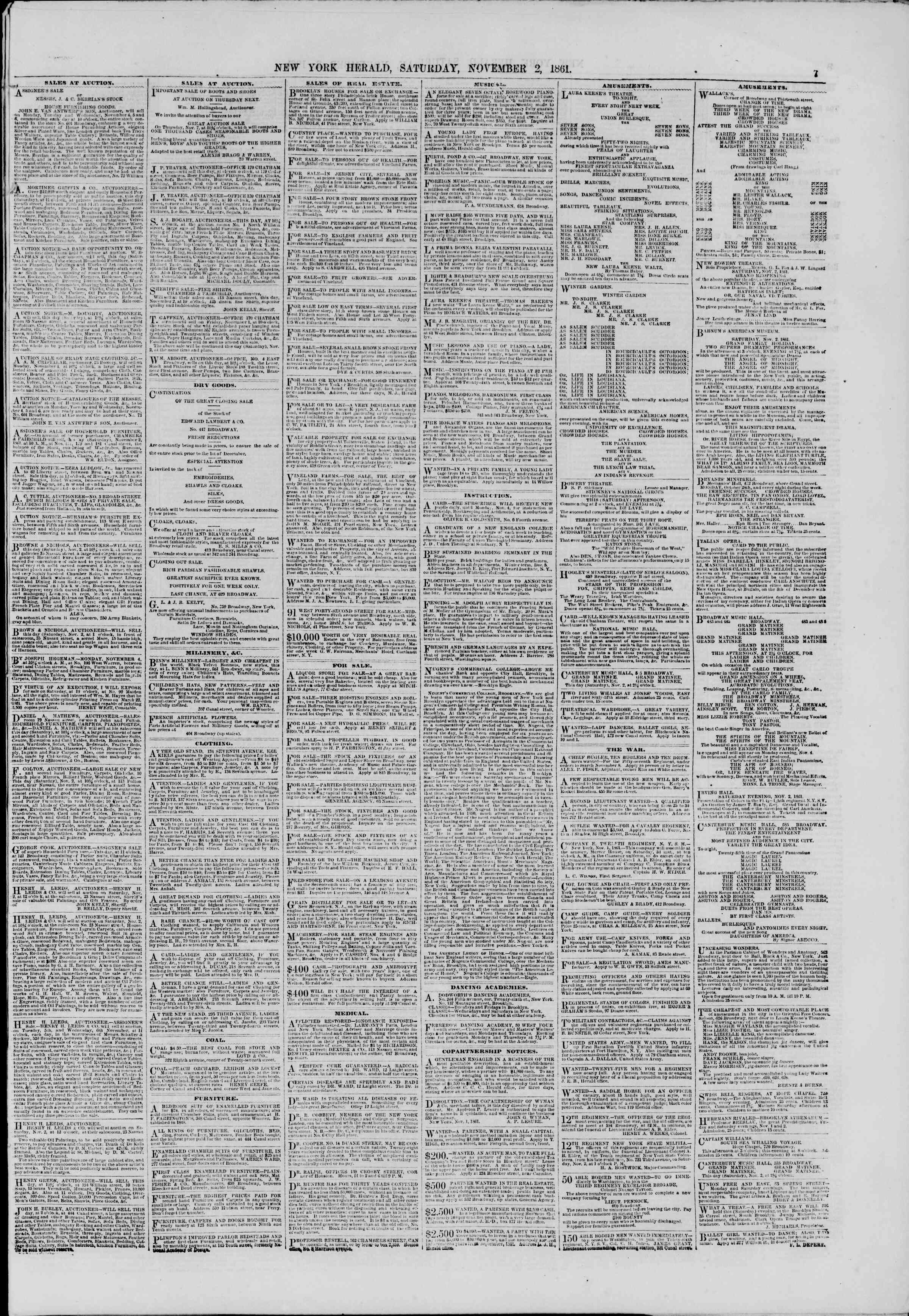 Newspaper of The New York Herald dated November 2, 1861 Page 7