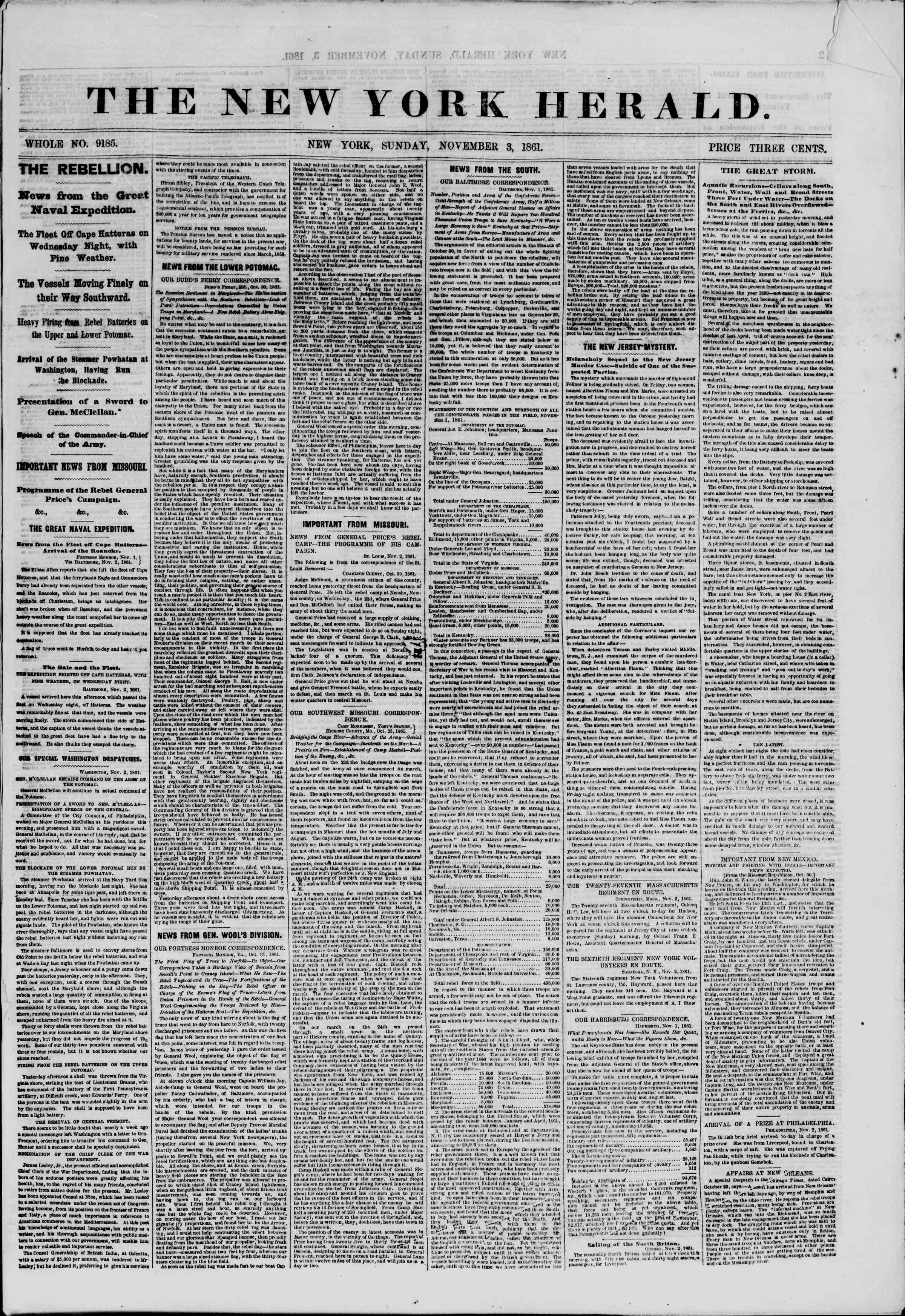 Newspaper of The New York Herald dated November 3, 1861 Page 1