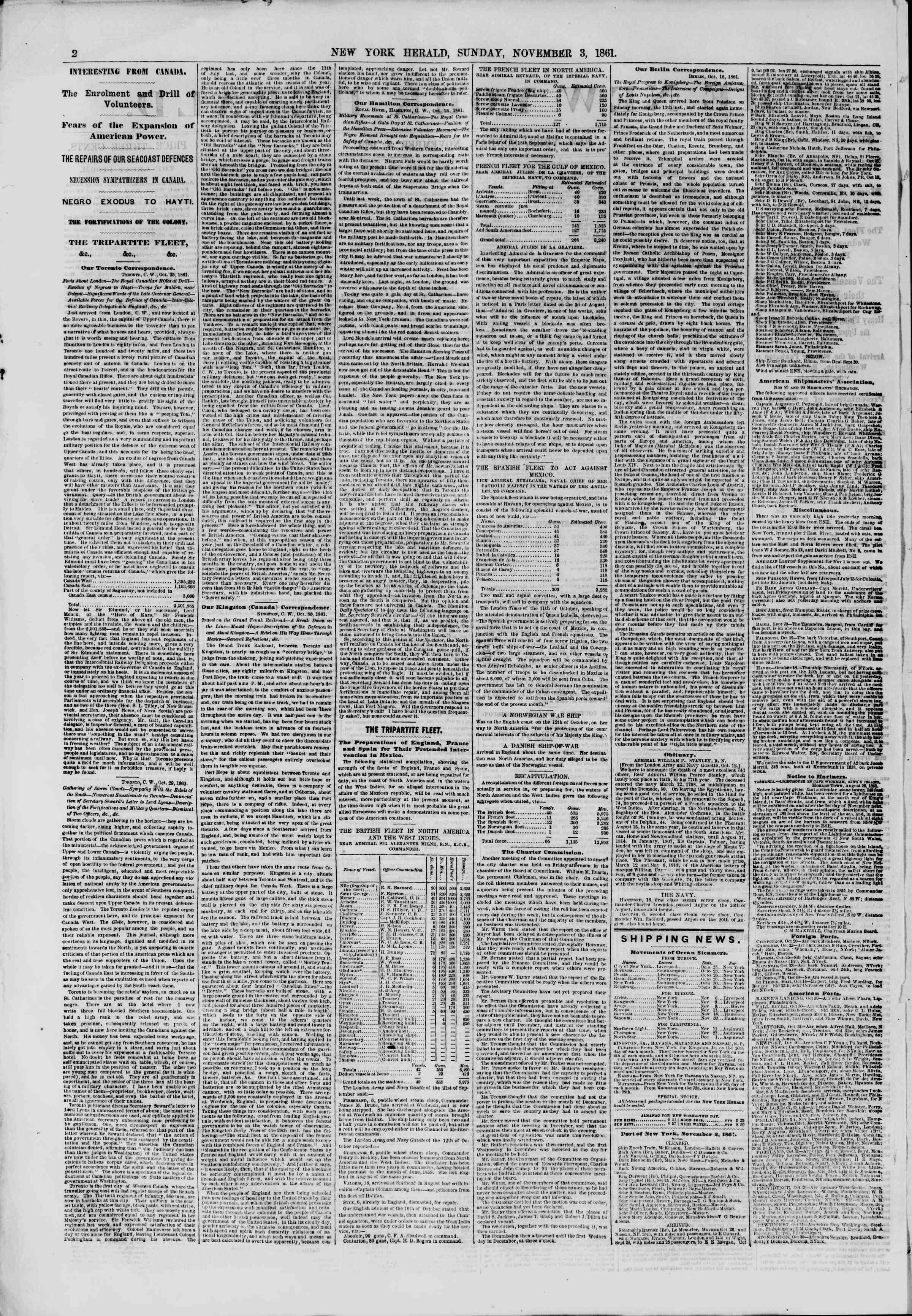 3 Kasım 1861 tarihli The New York Herald Gazetesi Sayfa 2