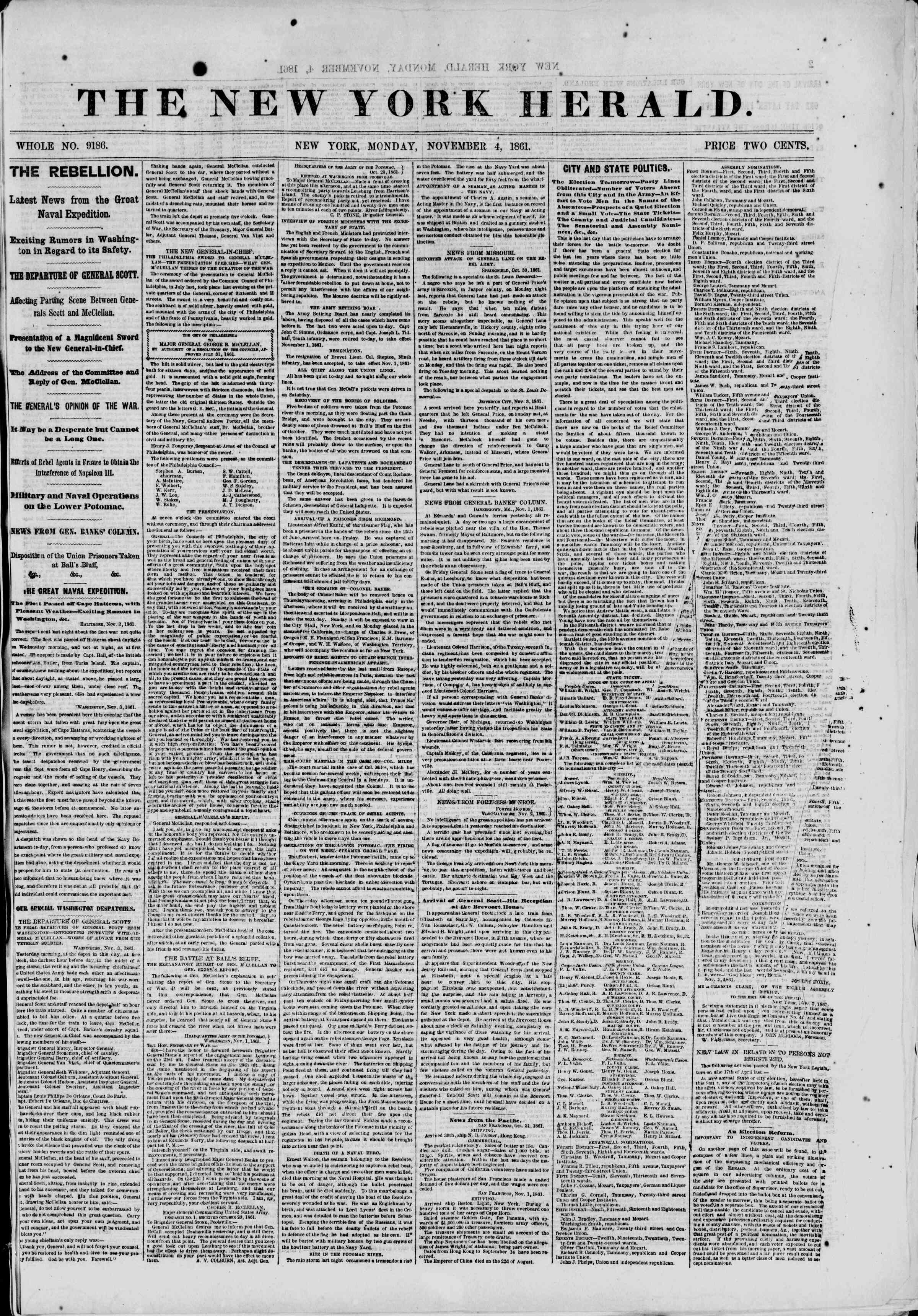 Newspaper of The New York Herald dated November 4, 1861 Page 1