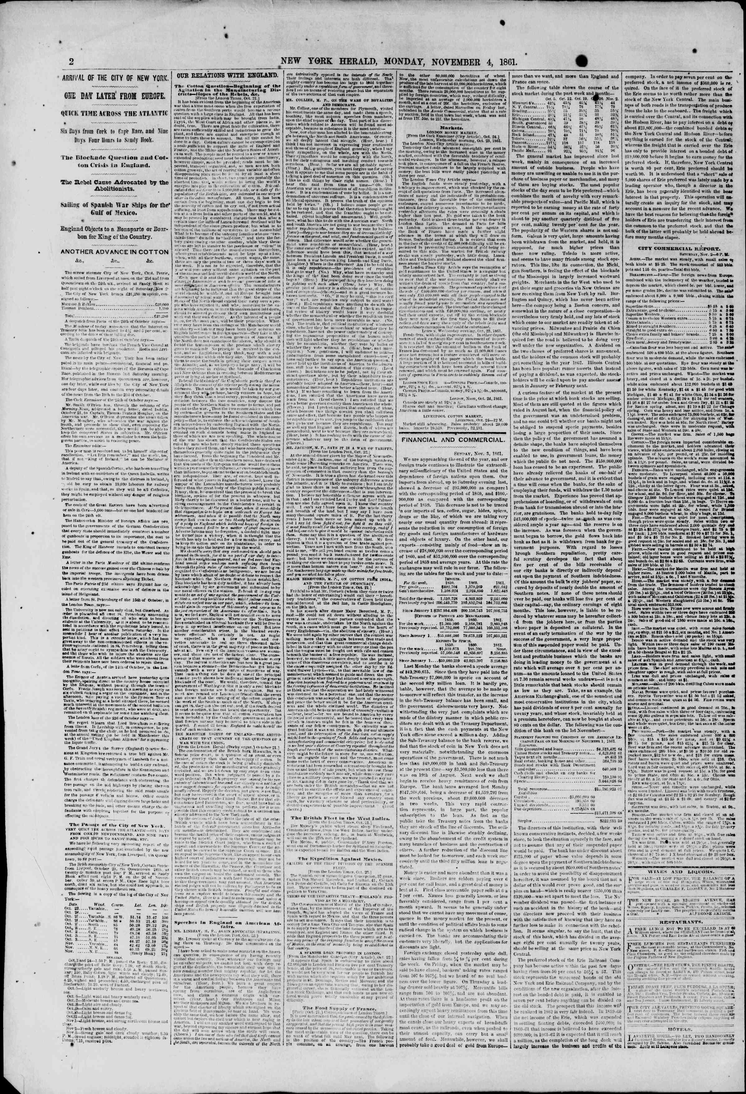 Newspaper of The New York Herald dated November 4, 1861 Page 2