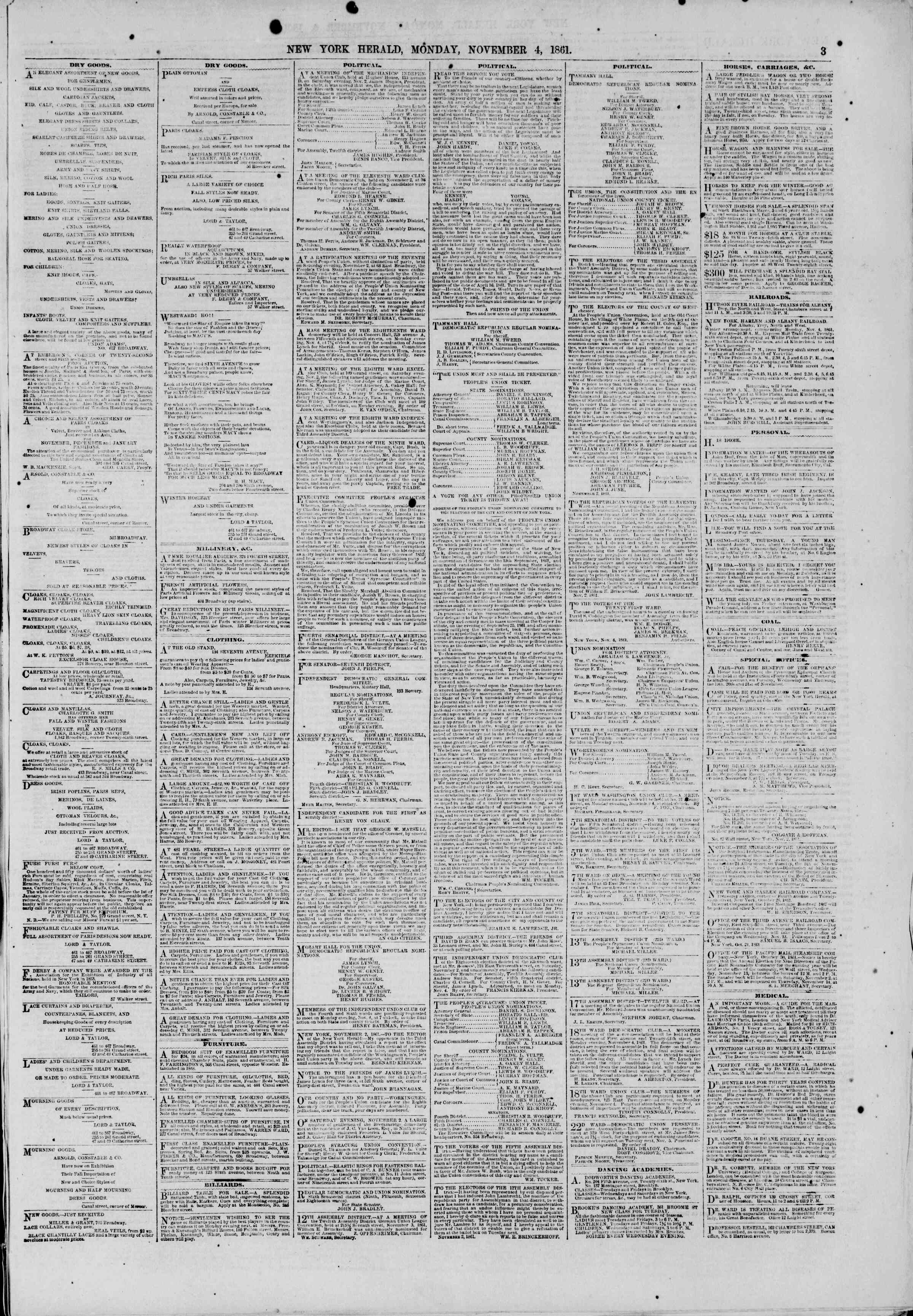 Newspaper of The New York Herald dated November 4, 1861 Page 3