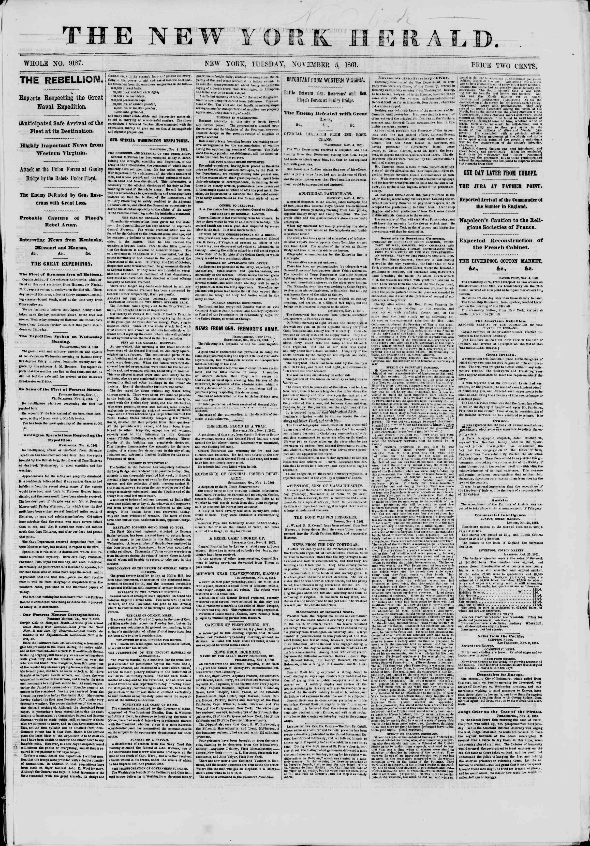 Newspaper of The New York Herald dated November 5, 1861 Page 1