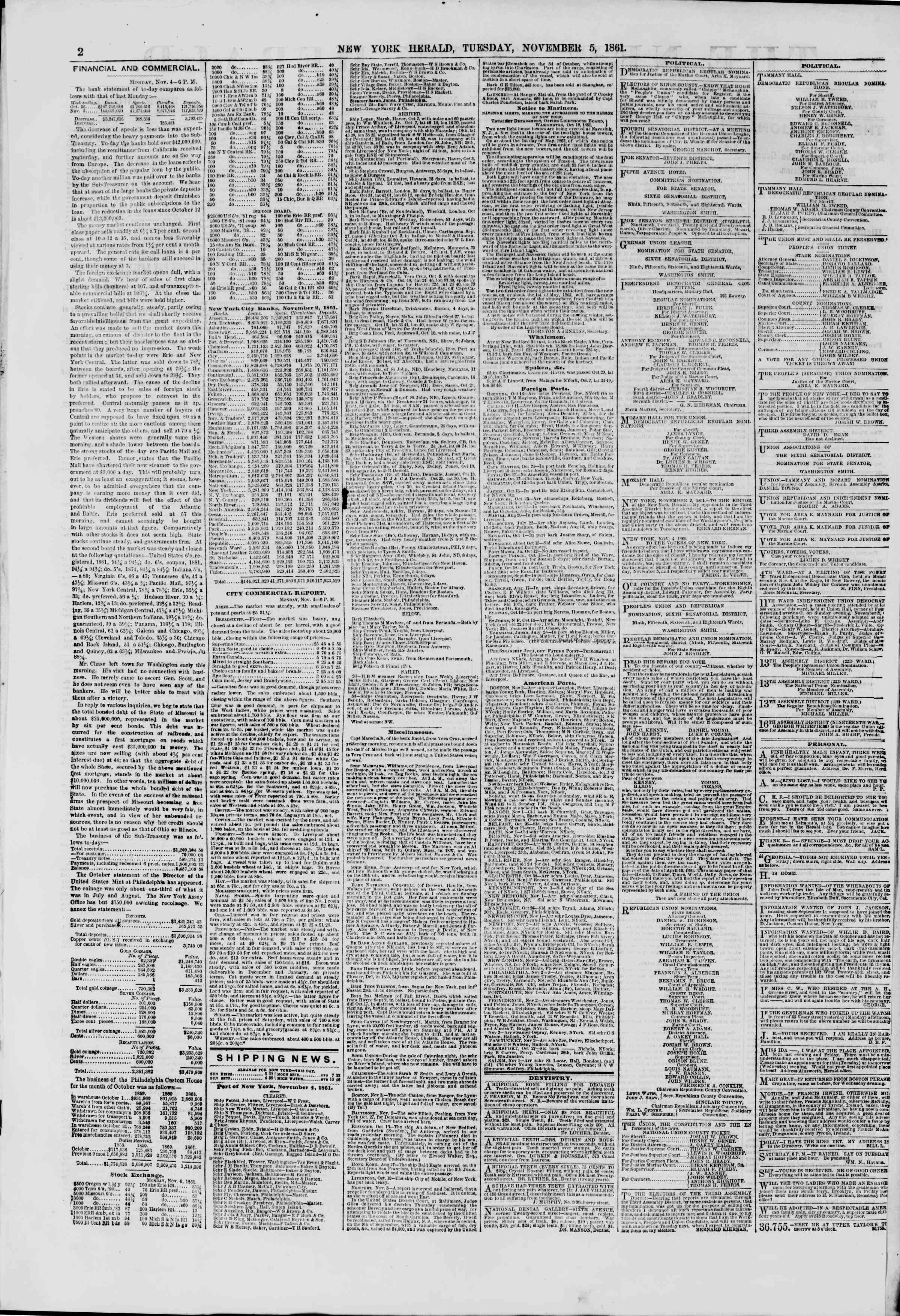 Newspaper of The New York Herald dated November 5, 1861 Page 2