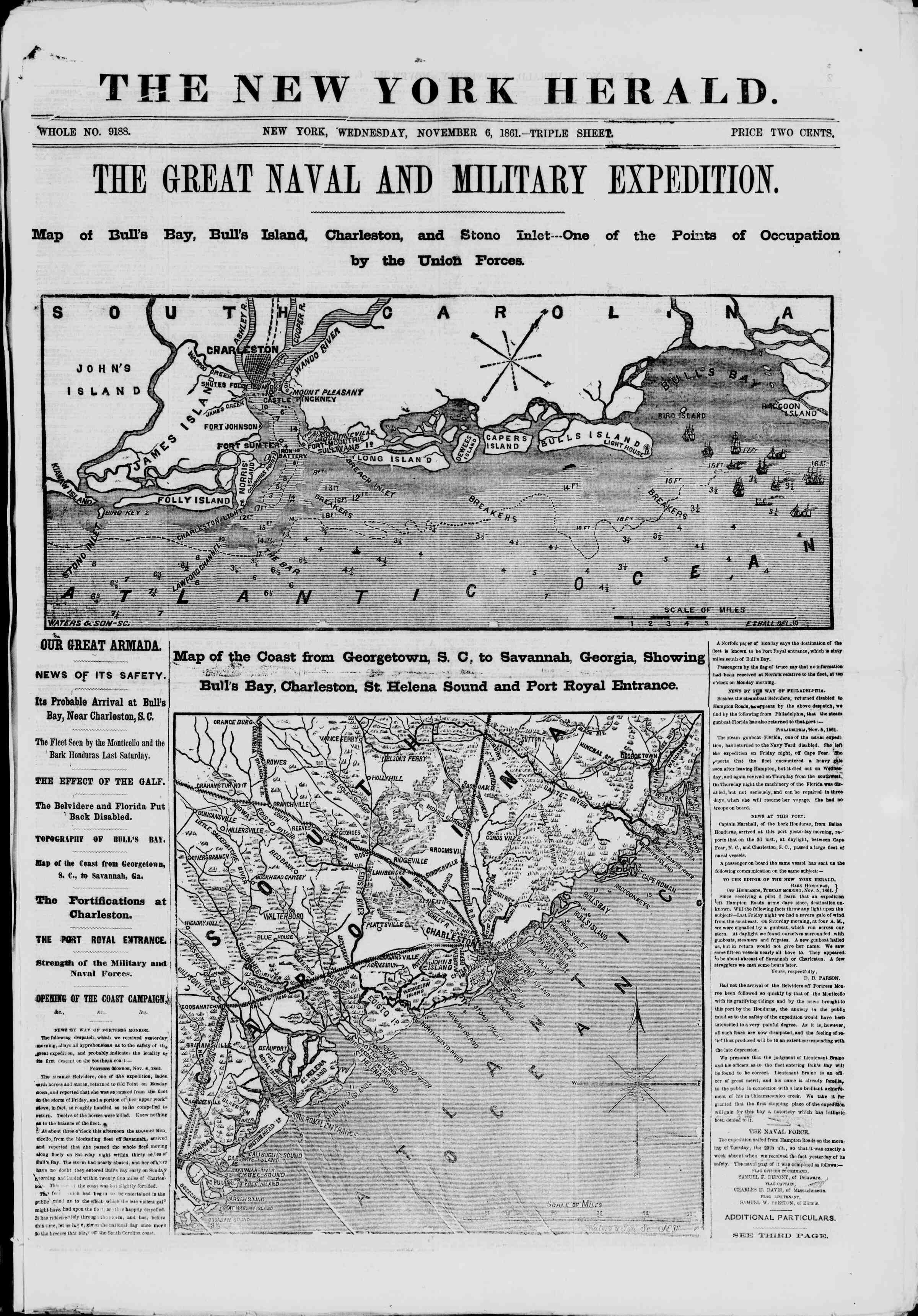 Newspaper of The New York Herald dated November 6, 1861 Page 1
