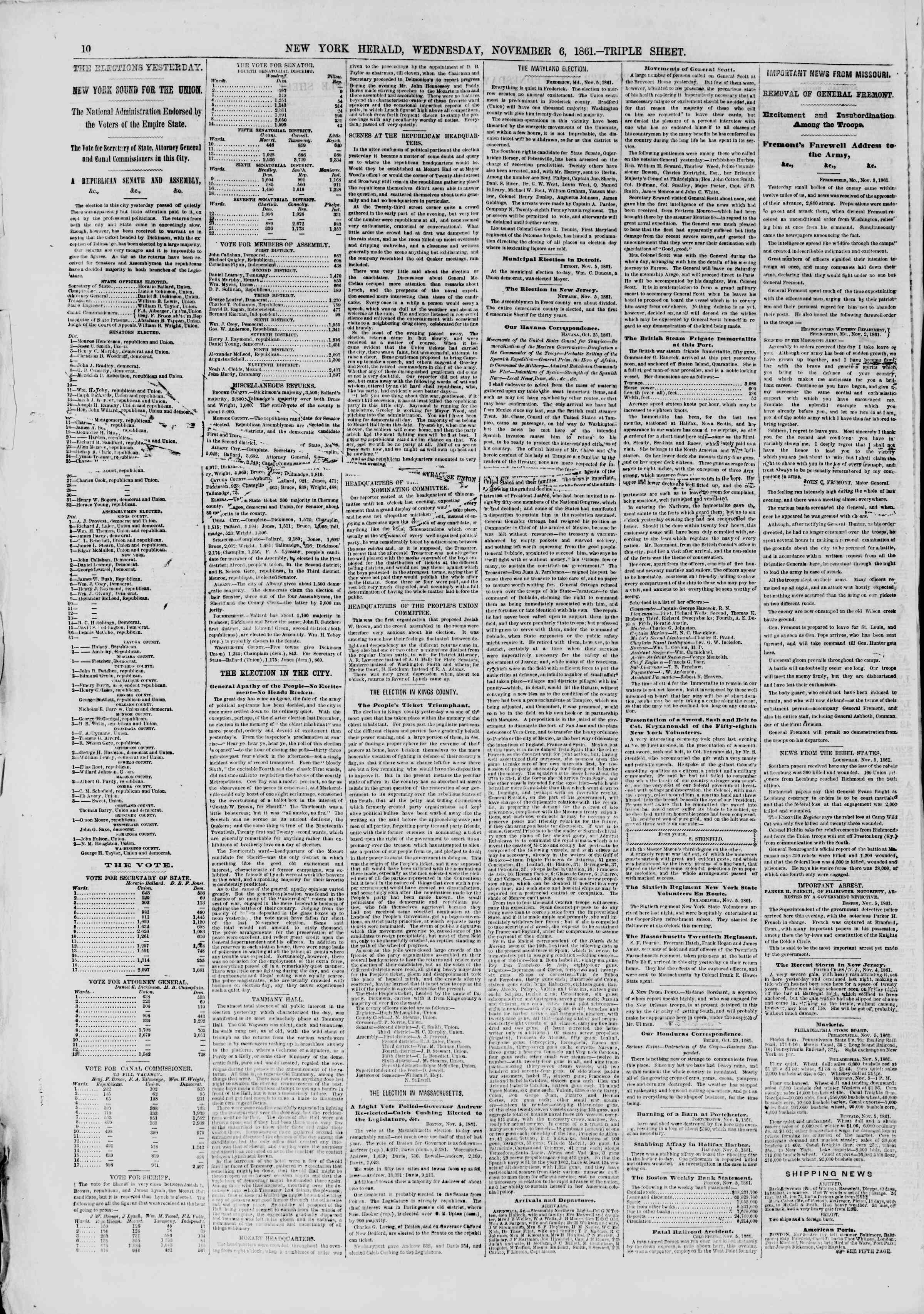 Newspaper of The New York Herald dated November 6, 1861 Page 12