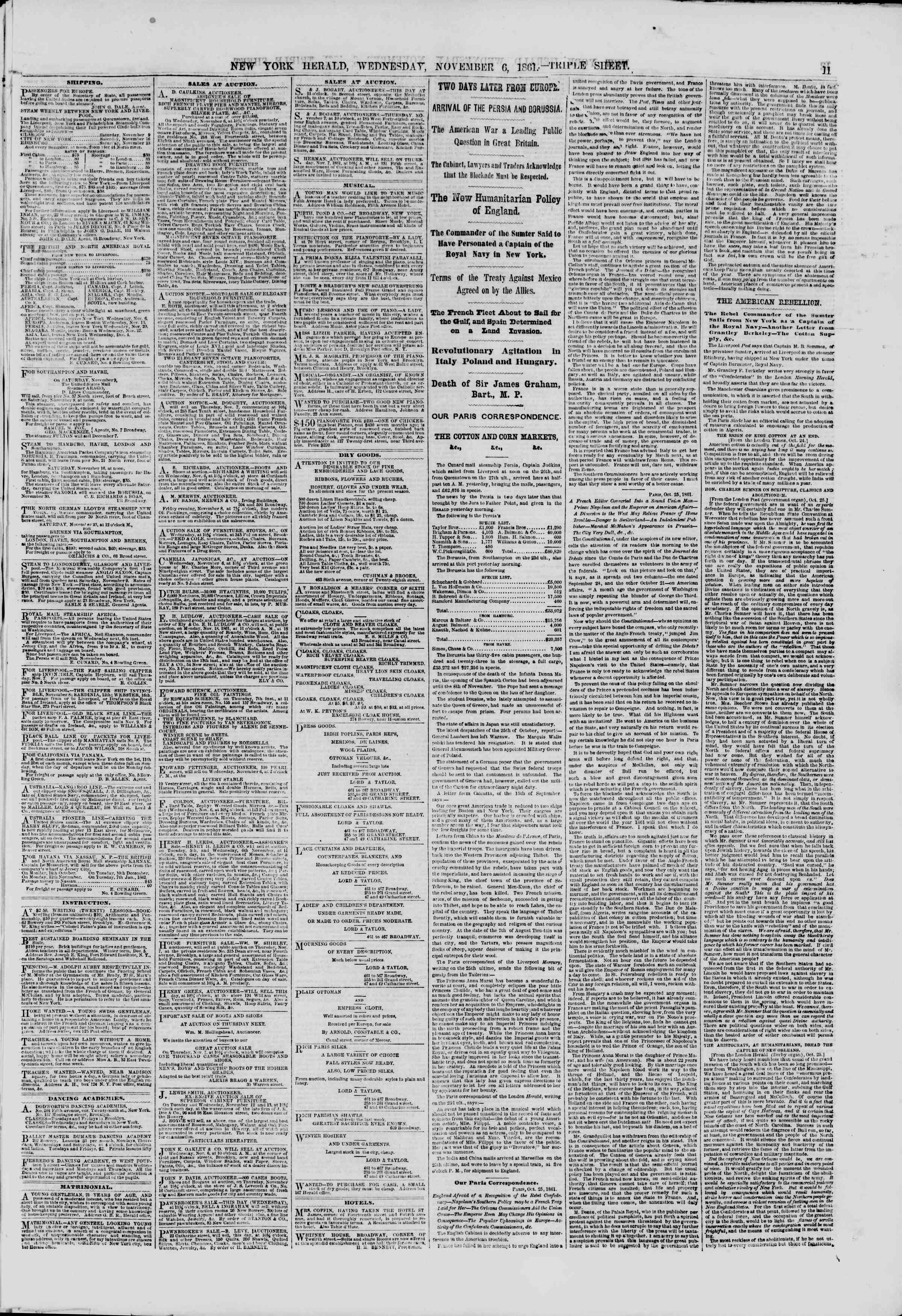 Newspaper of The New York Herald dated November 6, 1861 Page 13