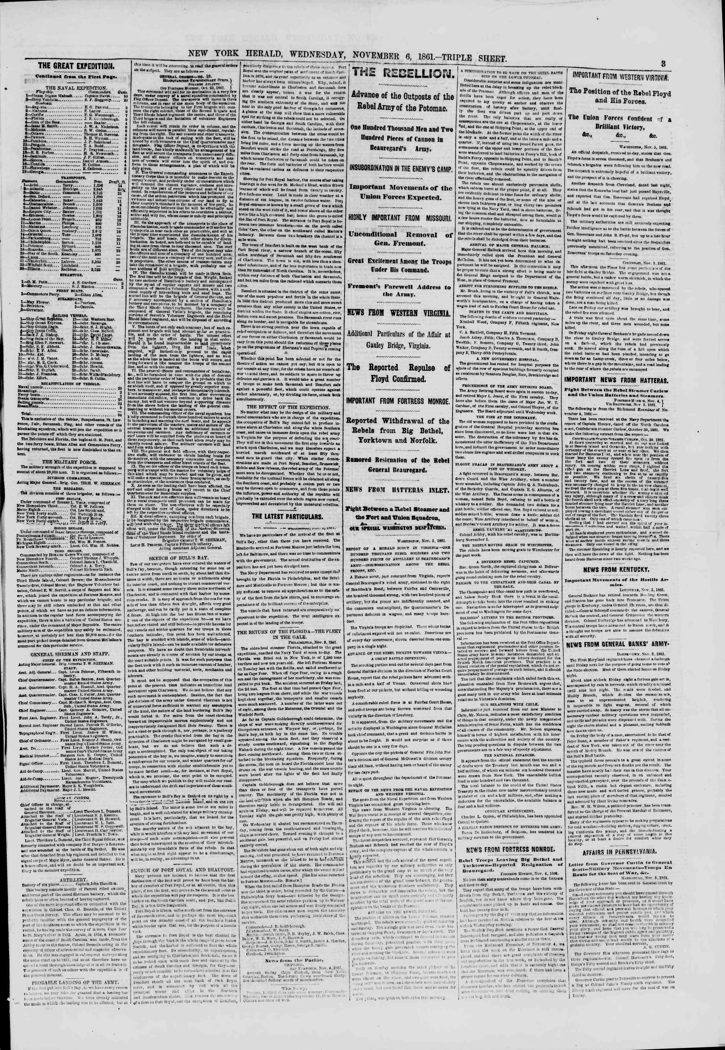 6 Kasım 1861 tarihli The New York Herald Gazetesi Sayfa 3