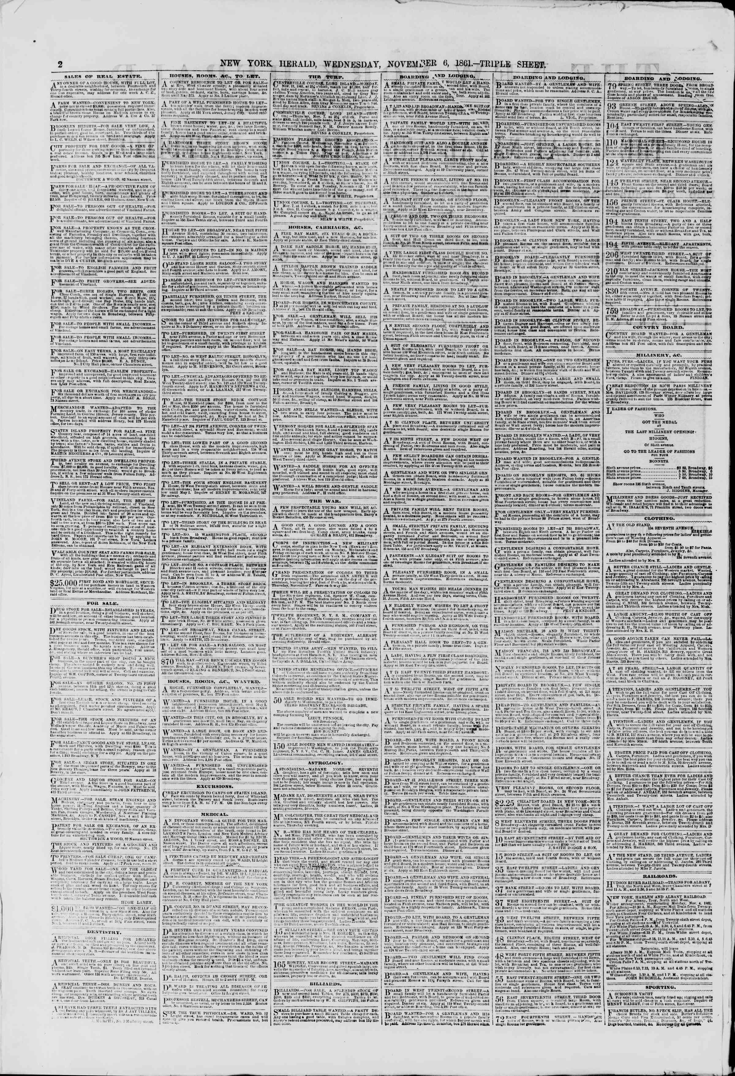 Newspaper of The New York Herald dated November 6, 1861 Page 4