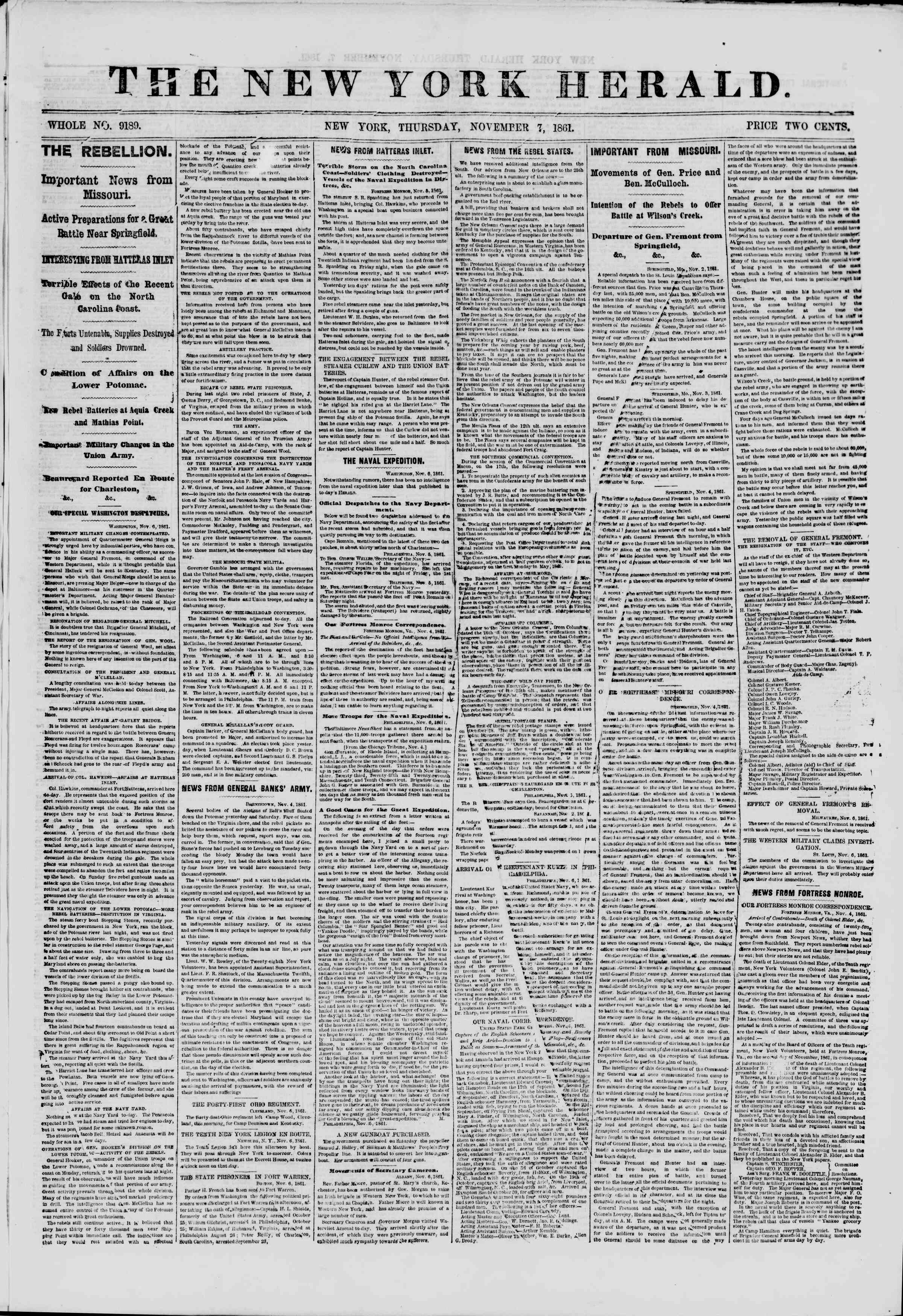 Newspaper of The New York Herald dated November 7, 1861 Page 1