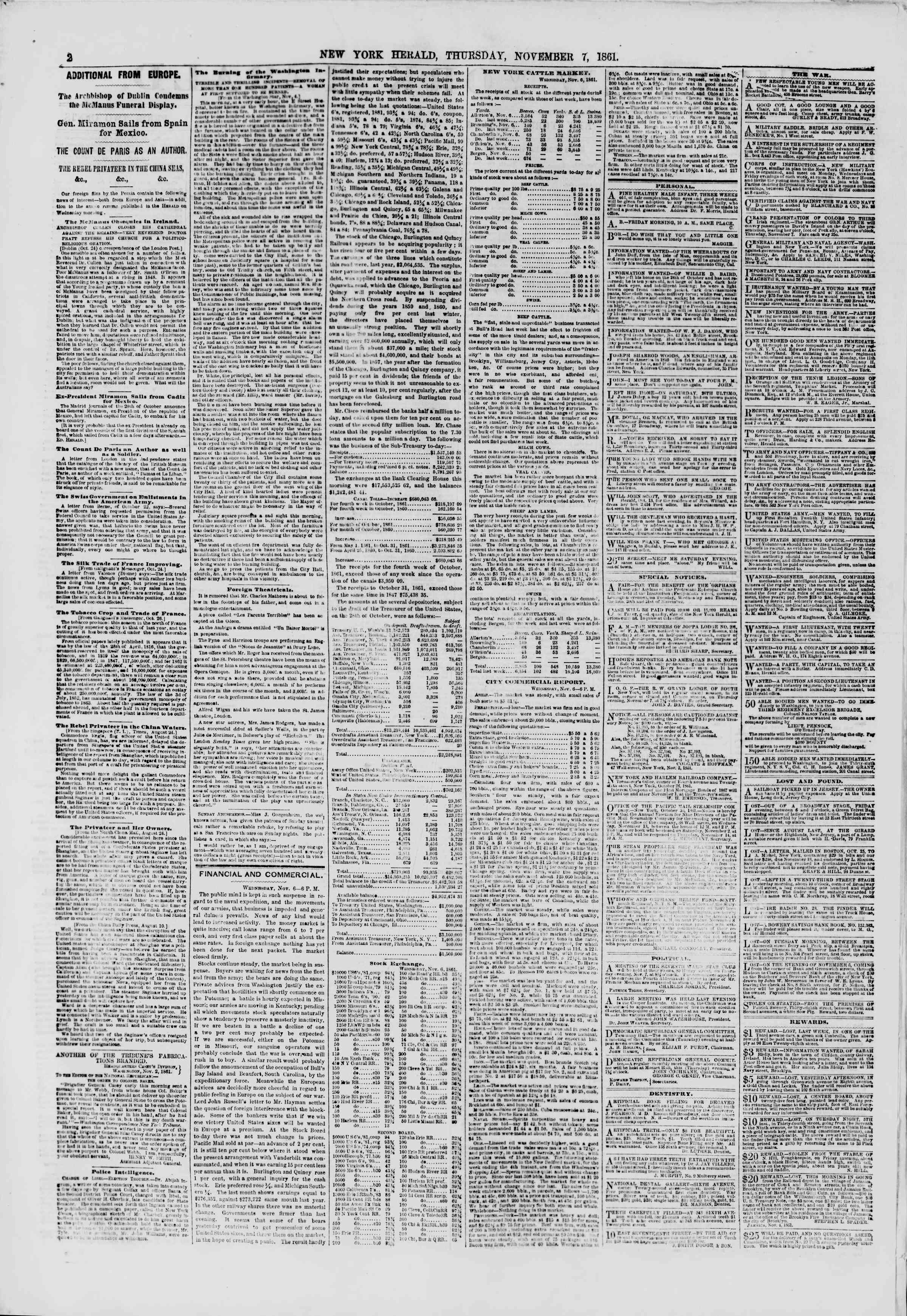 Newspaper of The New York Herald dated November 7, 1861 Page 2