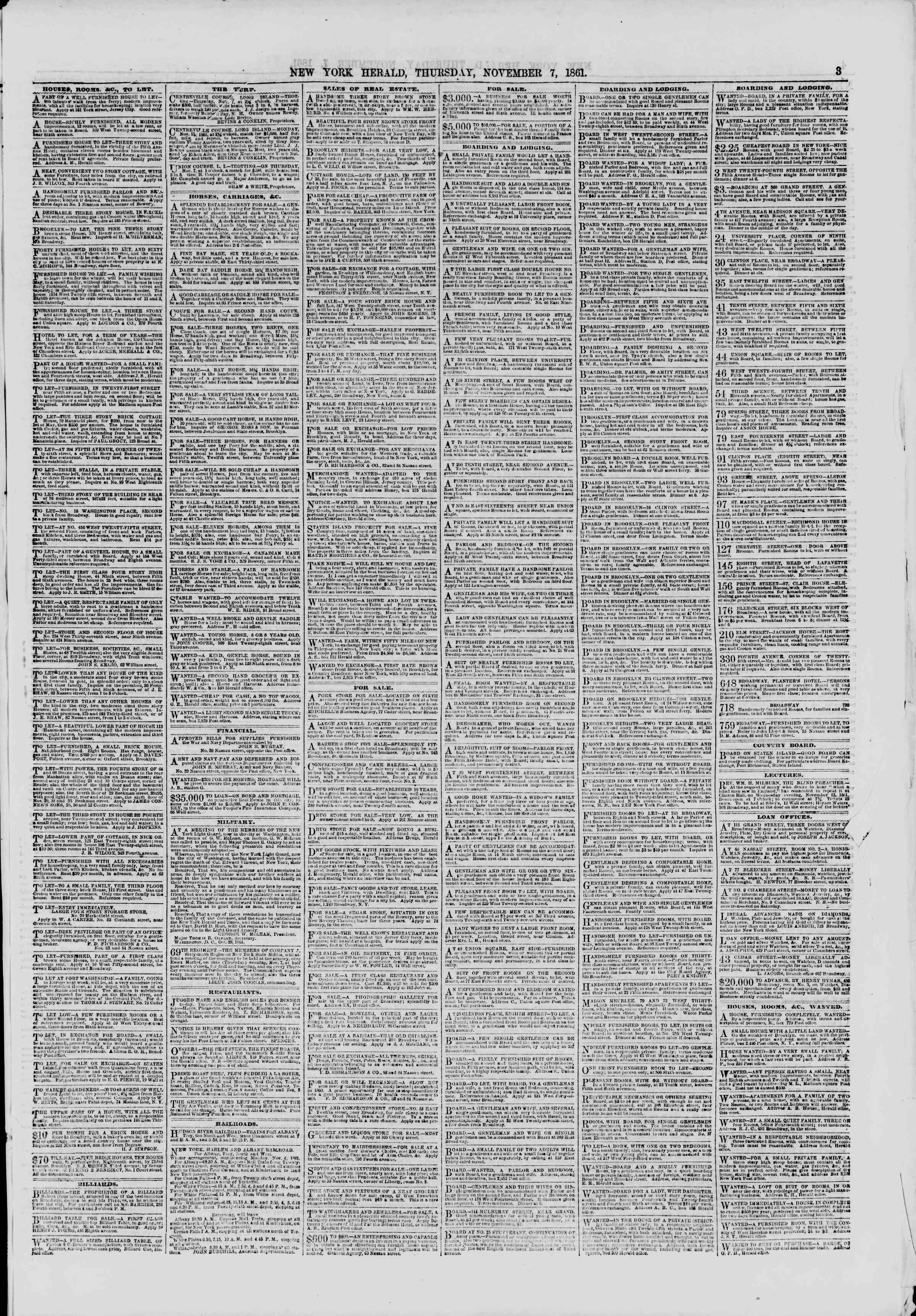 Newspaper of The New York Herald dated November 7, 1861 Page 3