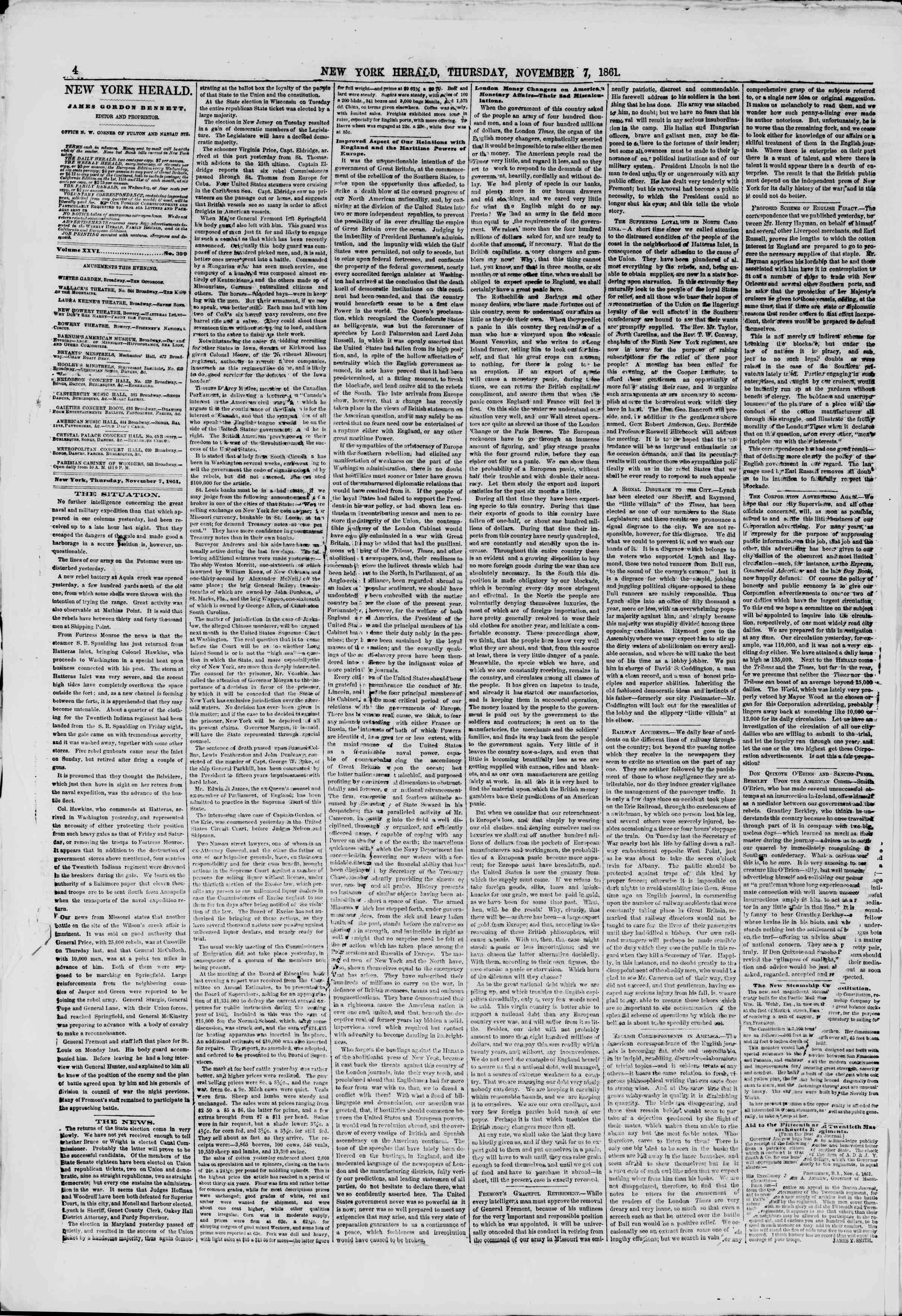 Newspaper of The New York Herald dated November 7, 1861 Page 4