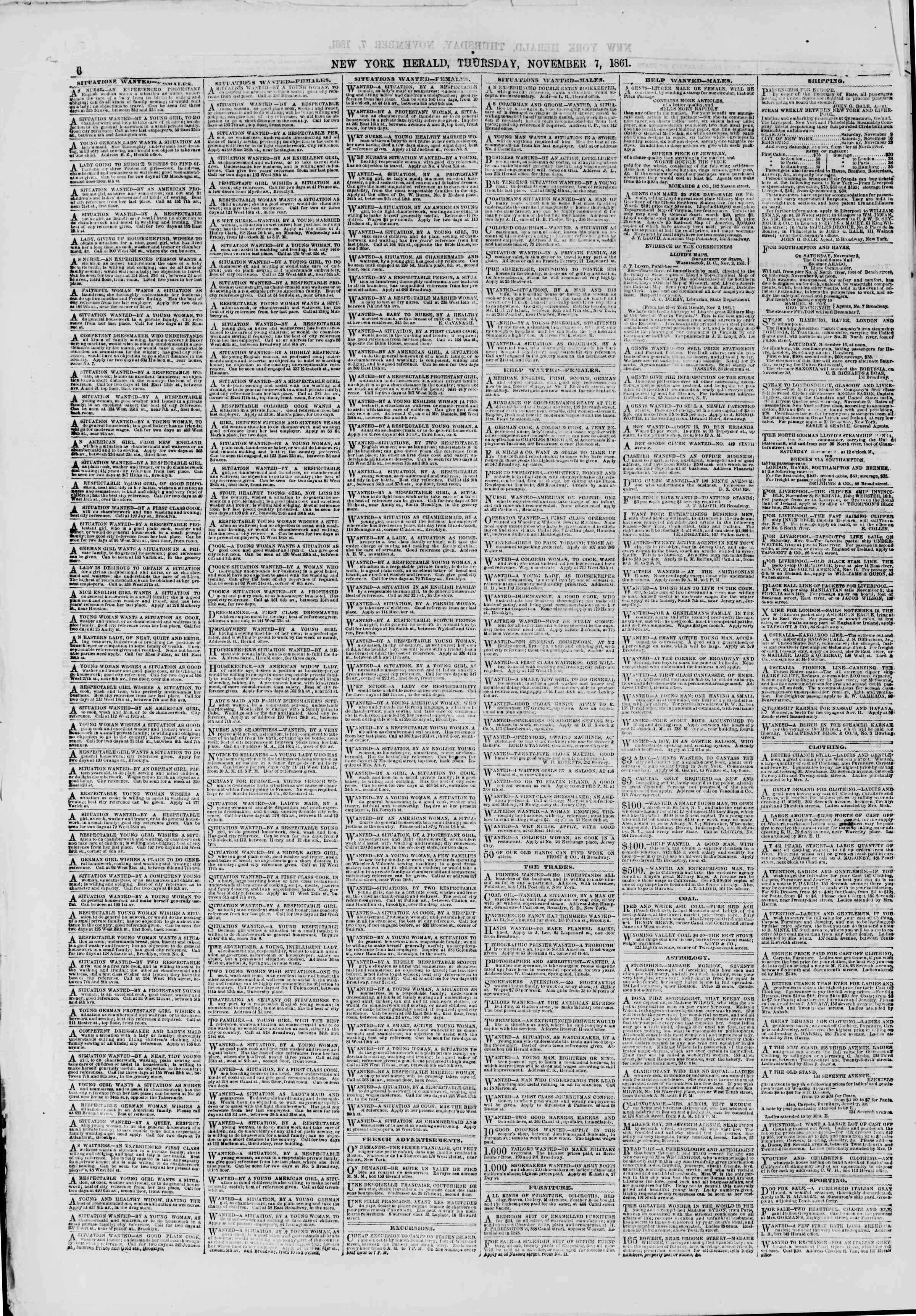 Newspaper of The New York Herald dated November 7, 1861 Page 6
