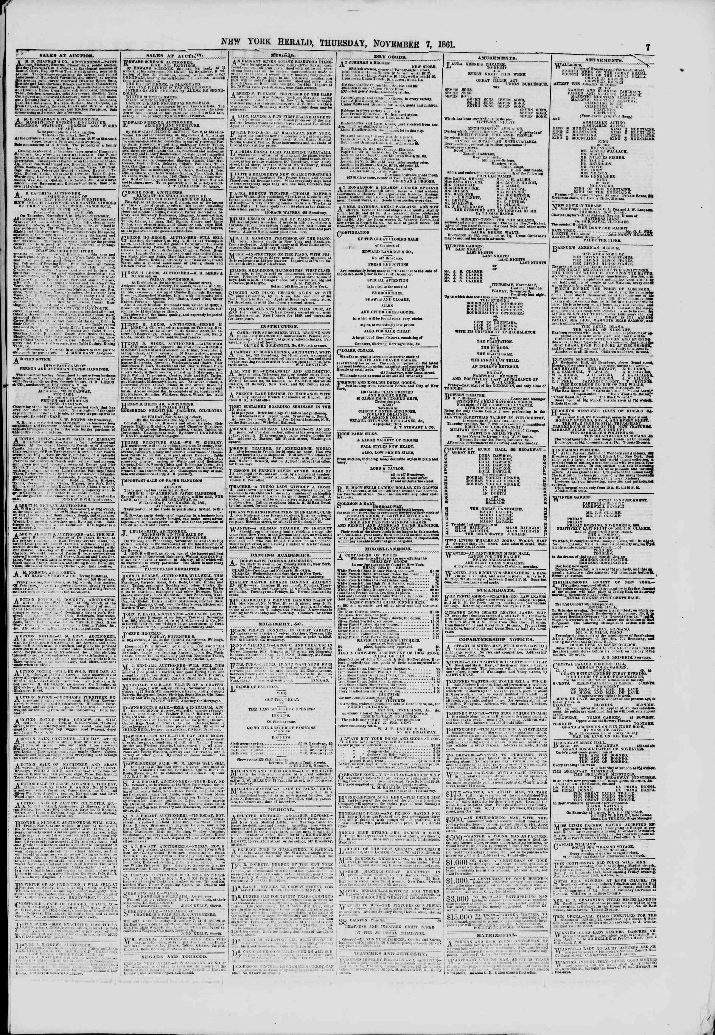 Newspaper of The New York Herald dated November 7, 1861 Page 7