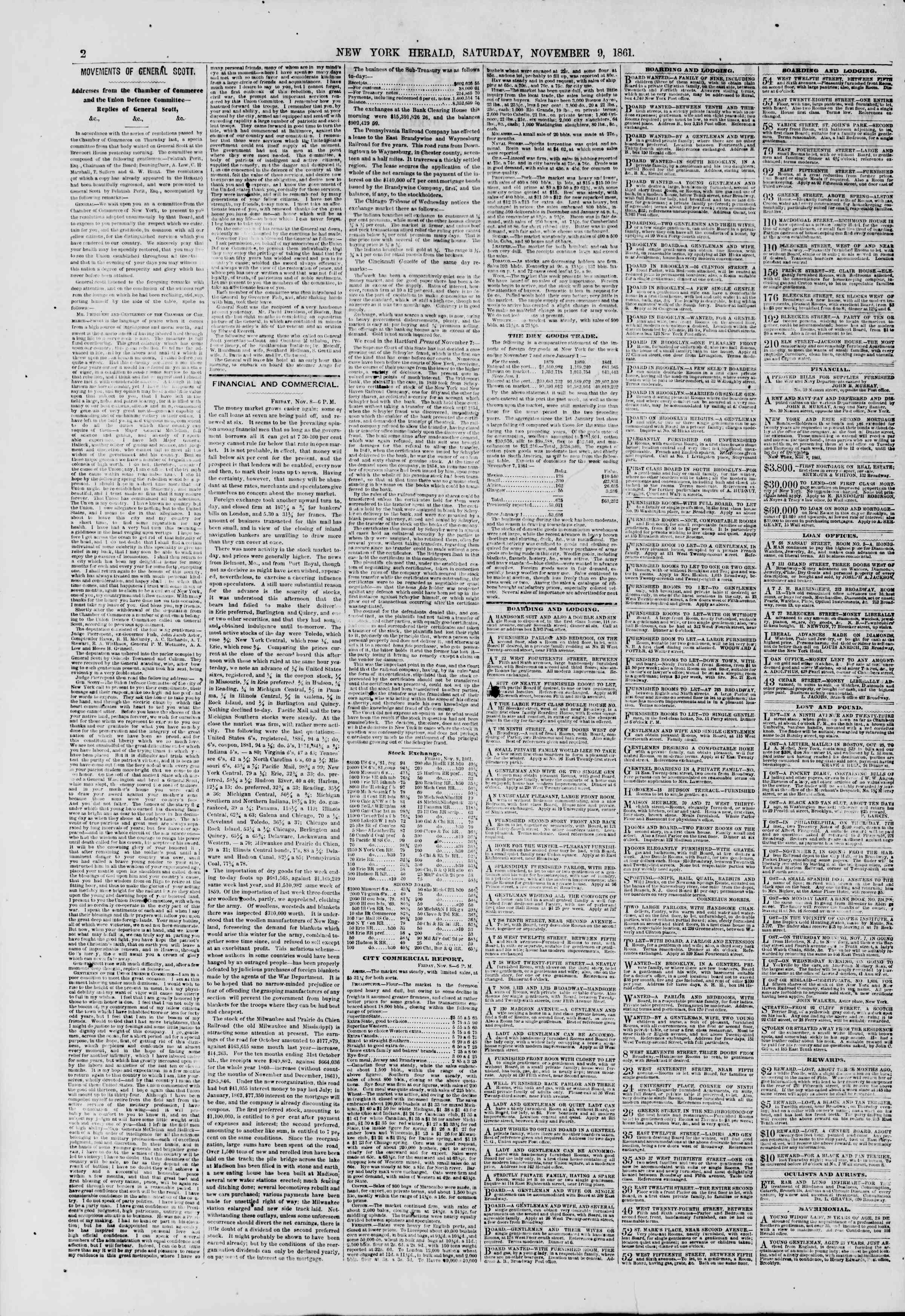 Newspaper of The New York Herald dated November 9, 1861 Page 2