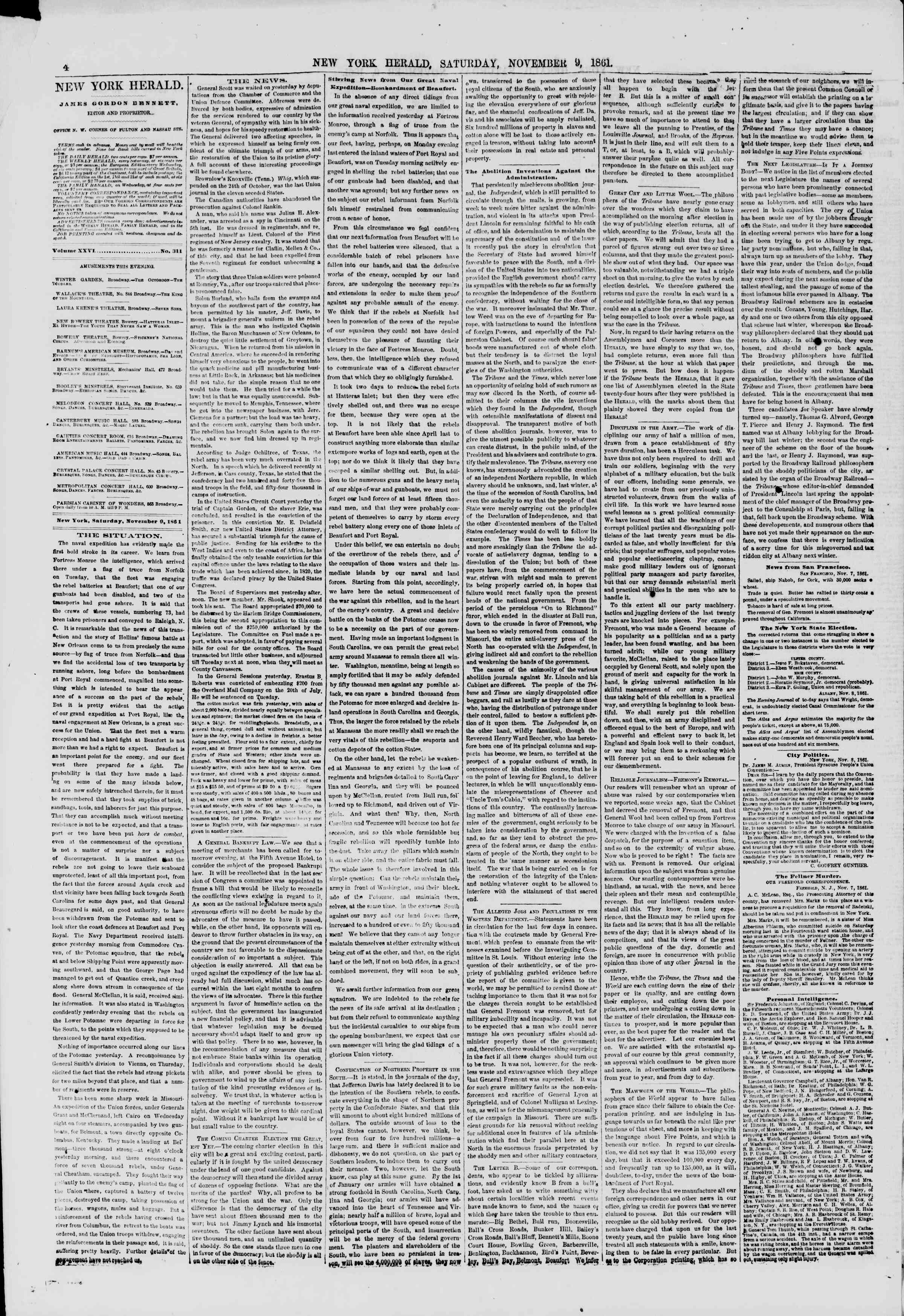 Newspaper of The New York Herald dated November 9, 1861 Page 4