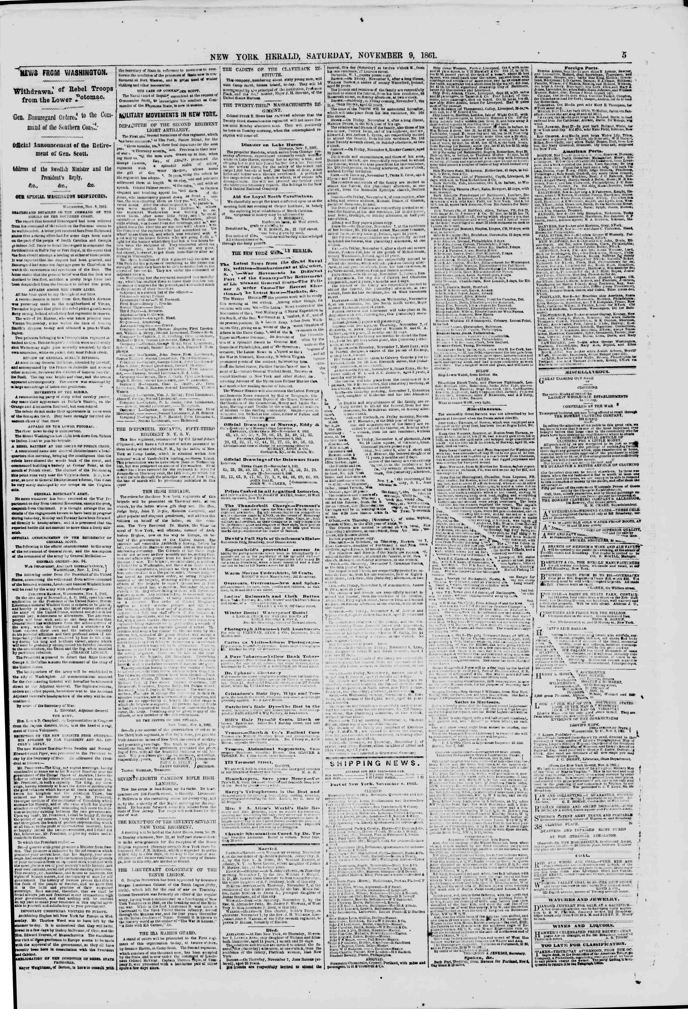 Newspaper of The New York Herald dated November 9, 1861 Page 5