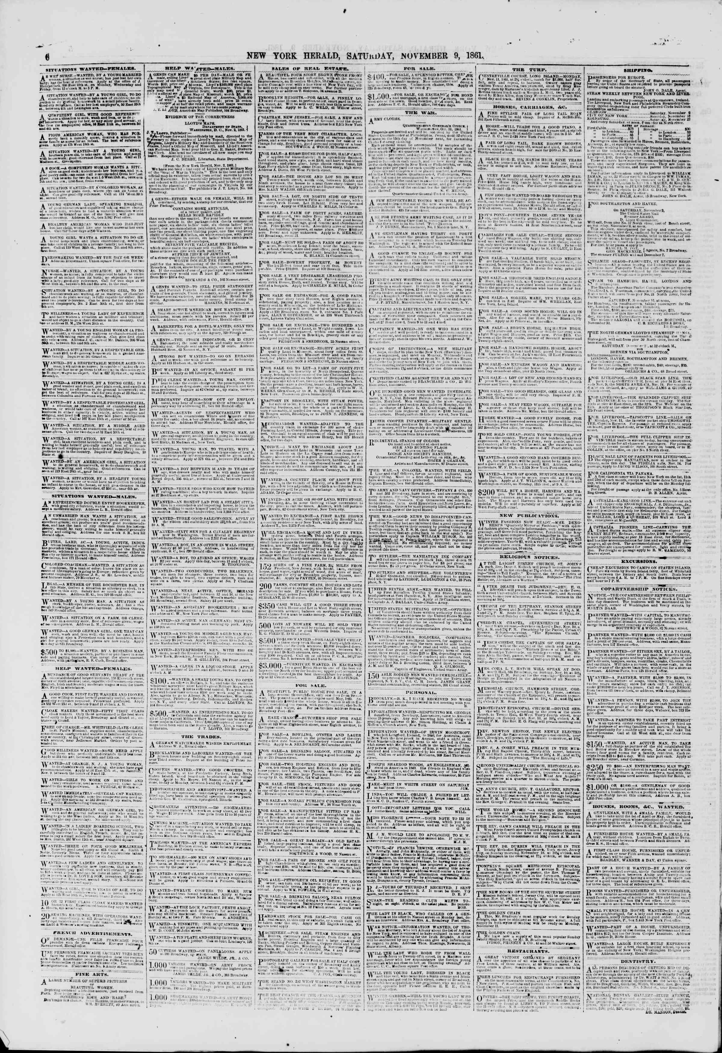 Newspaper of The New York Herald dated November 9, 1861 Page 6