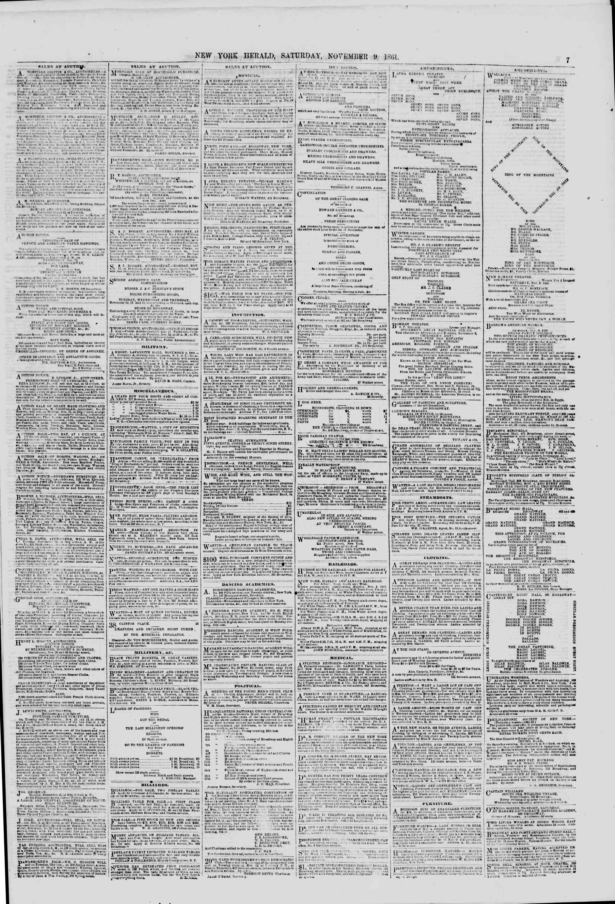 Newspaper of The New York Herald dated November 9, 1861 Page 7