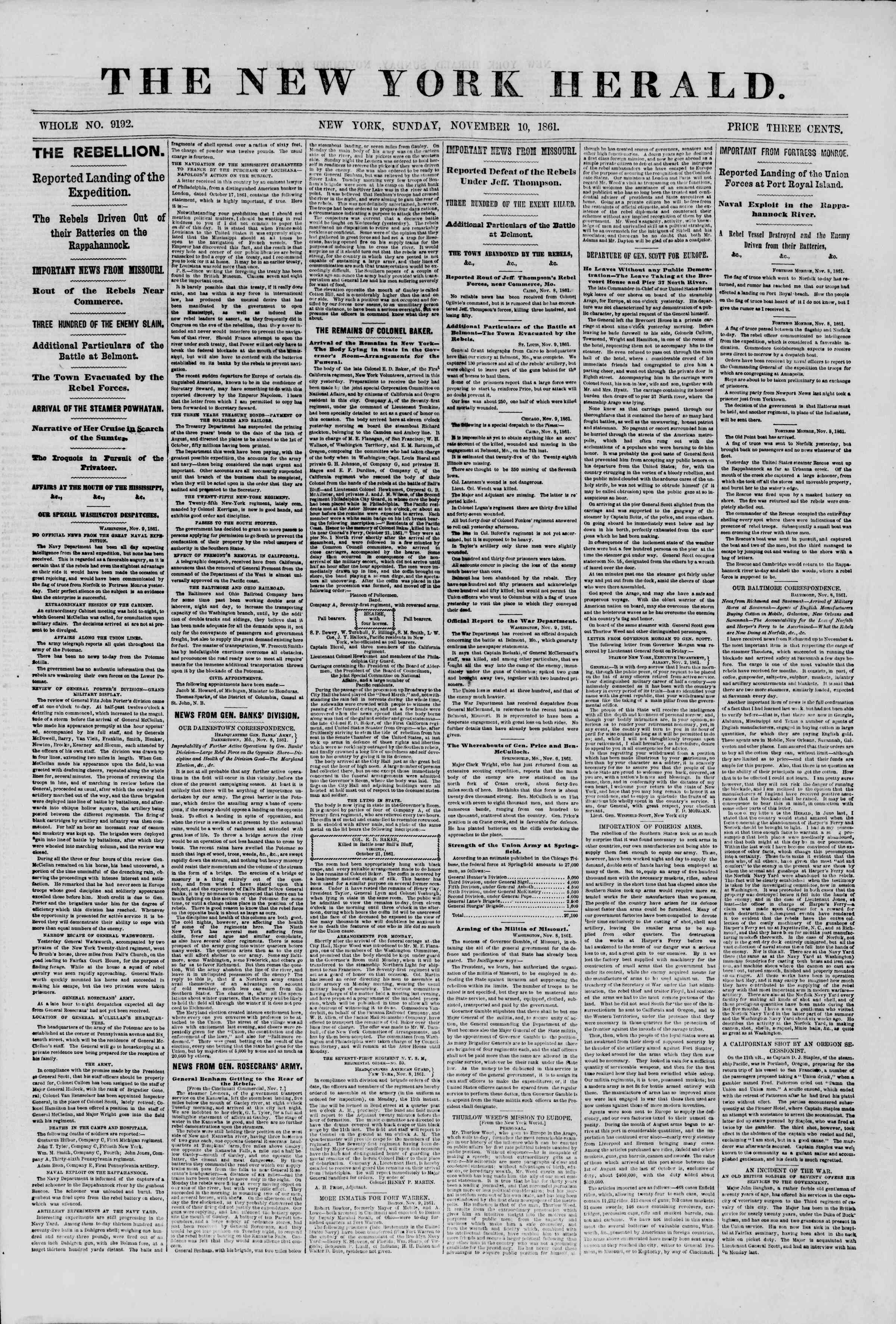 Newspaper of The New York Herald dated November 10, 1861 Page 1