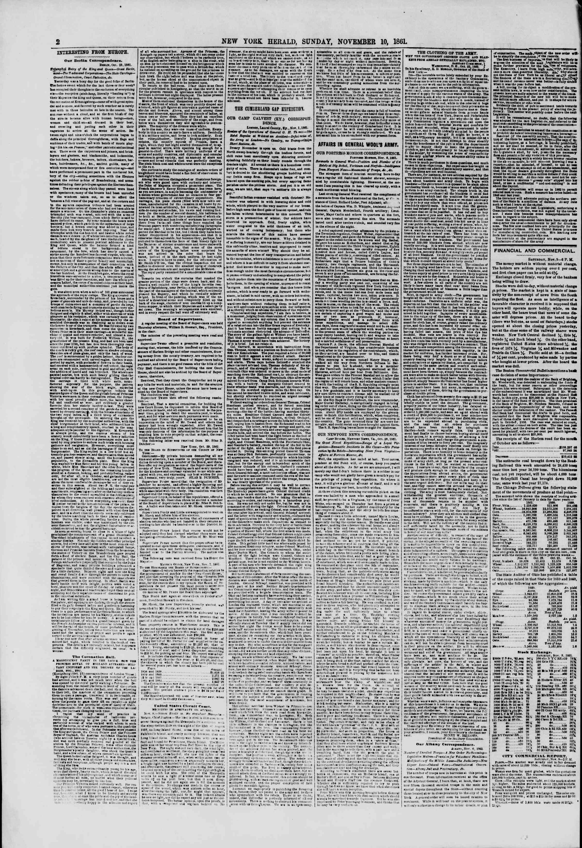 Newspaper of The New York Herald dated November 10, 1861 Page 2