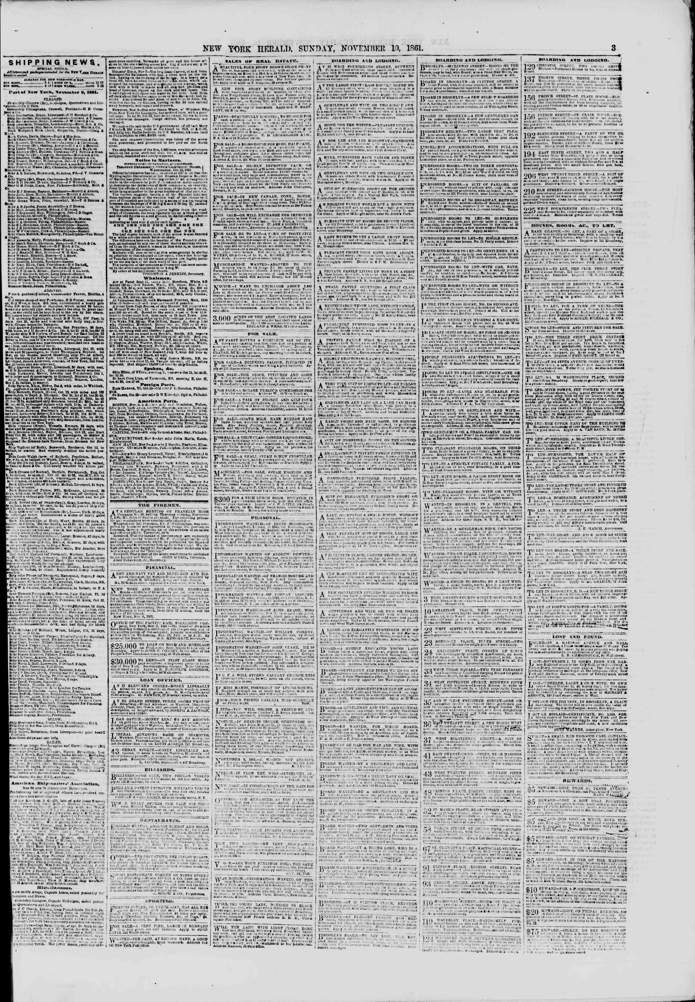 Newspaper of The New York Herald dated November 10, 1861 Page 3