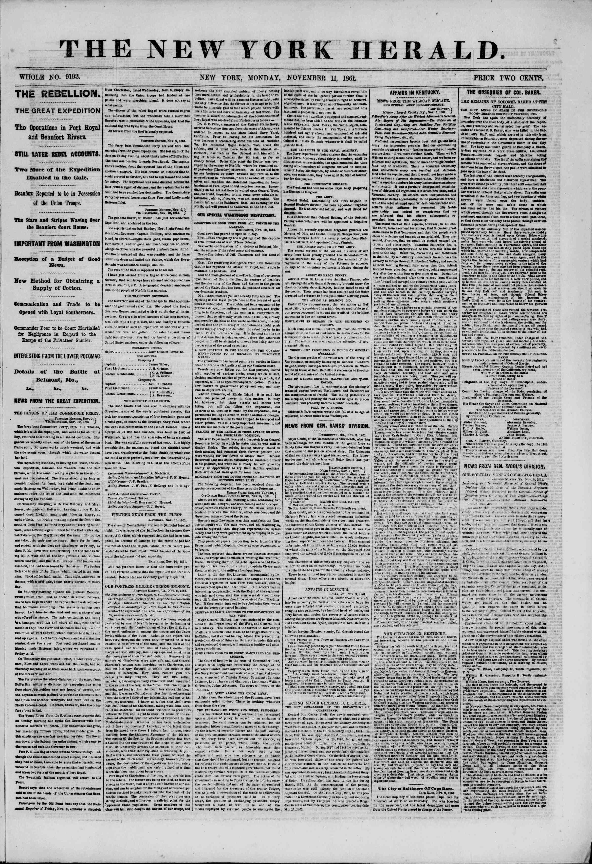 Newspaper of The New York Herald dated November 11, 1861 Page 1