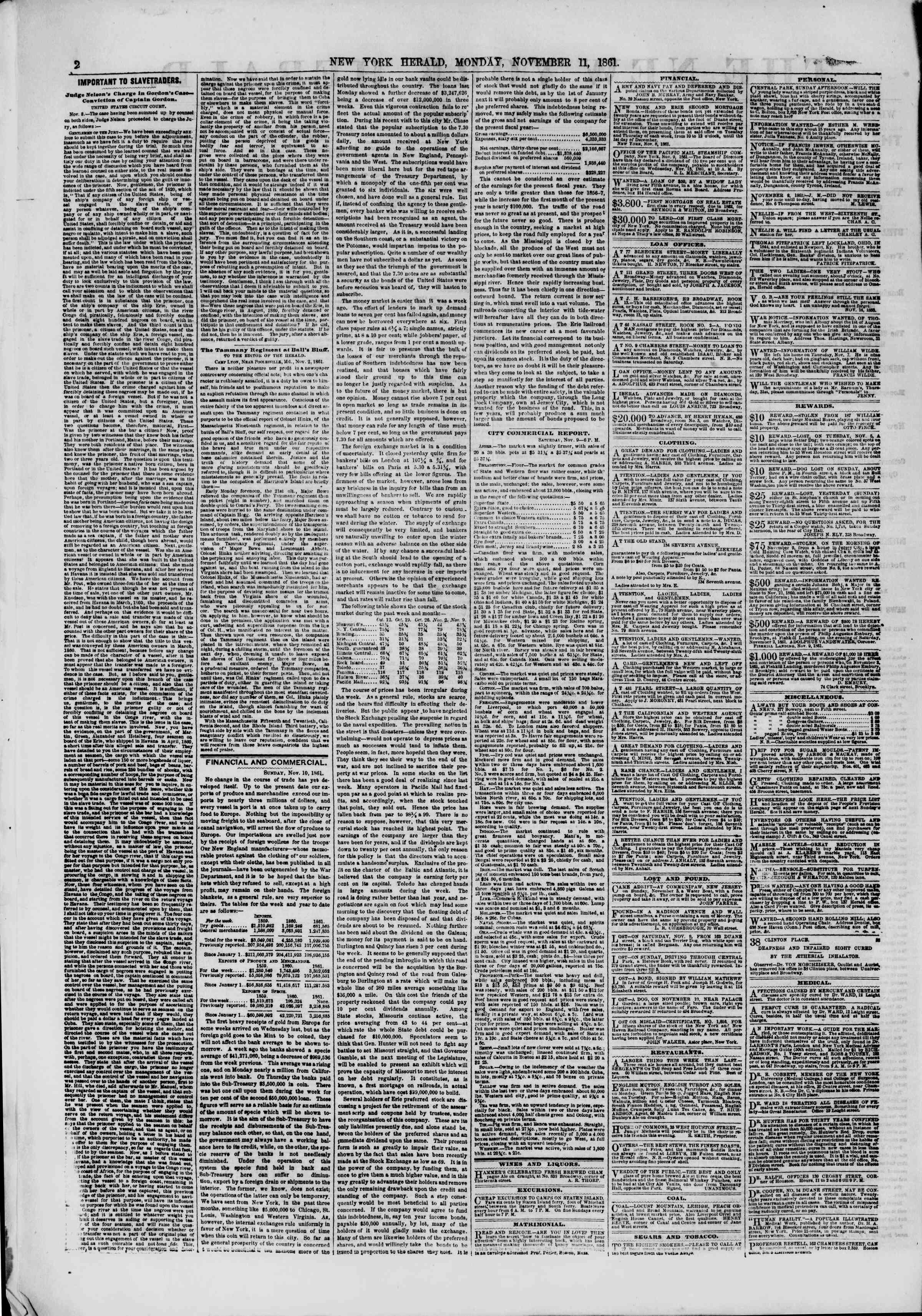 Newspaper of The New York Herald dated November 11, 1861 Page 2