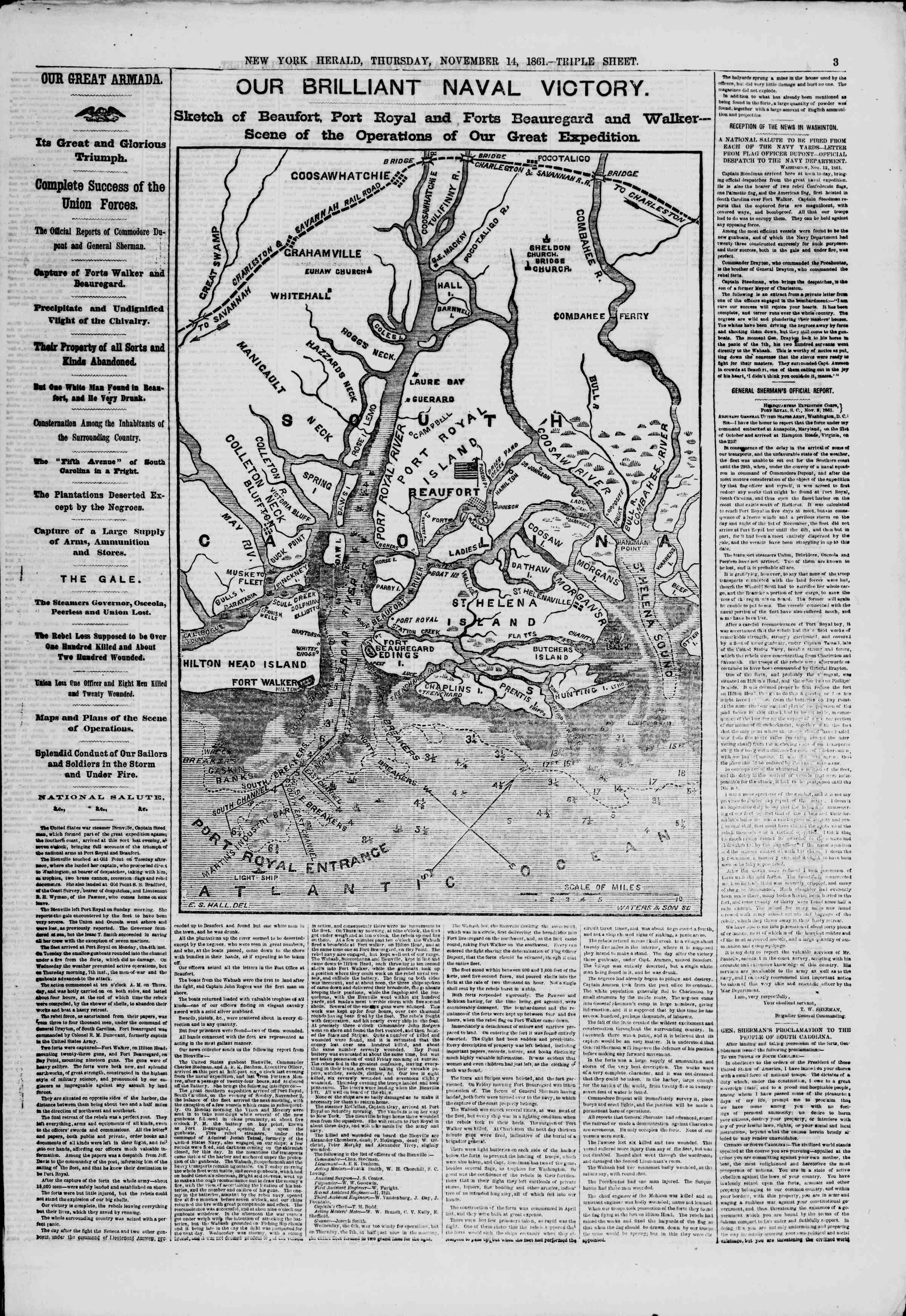 Newspaper of The New York Herald dated November 14, 1861 Page 3