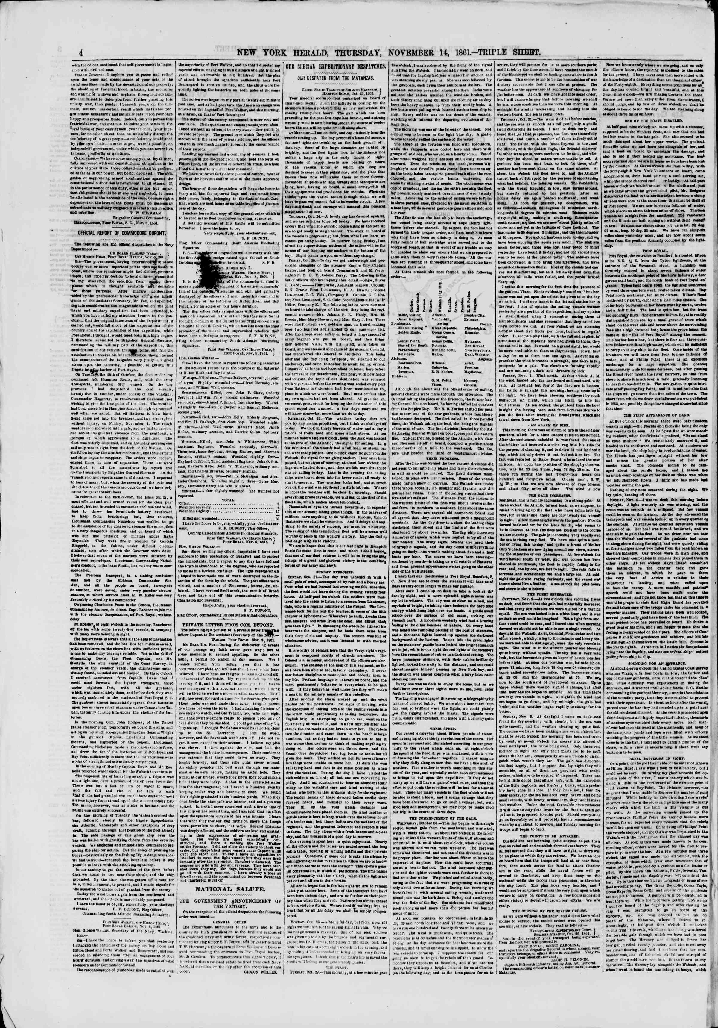 Newspaper of The New York Herald dated November 14, 1861 Page 4
