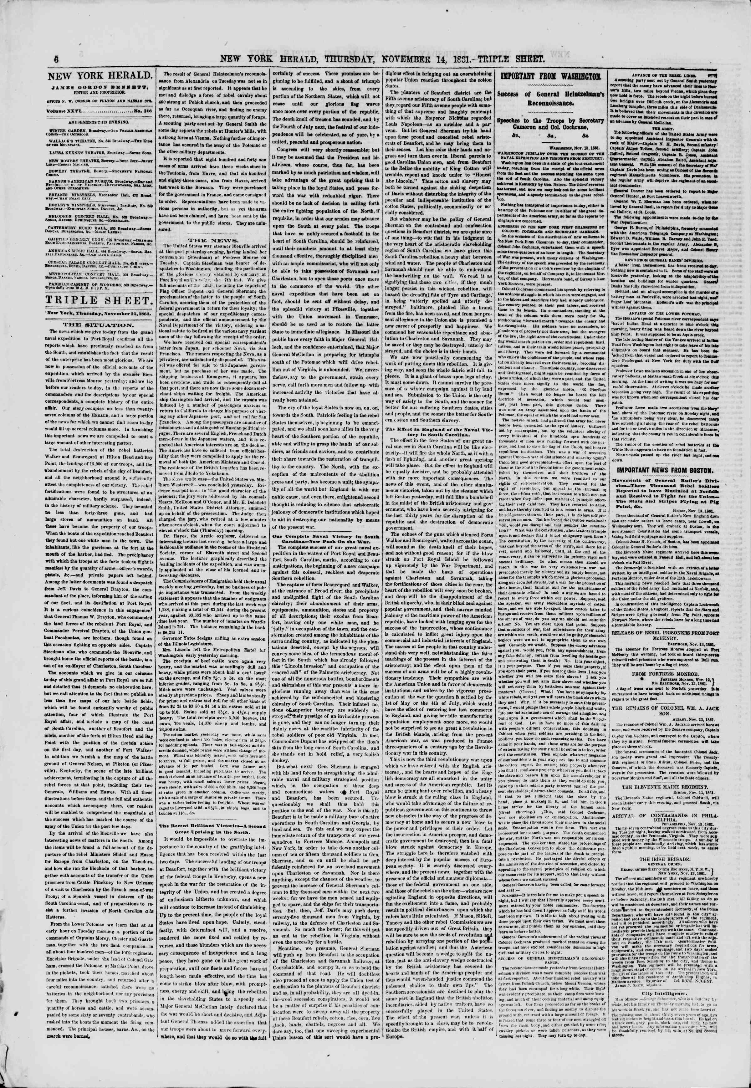 Newspaper of The New York Herald dated November 14, 1861 Page 6