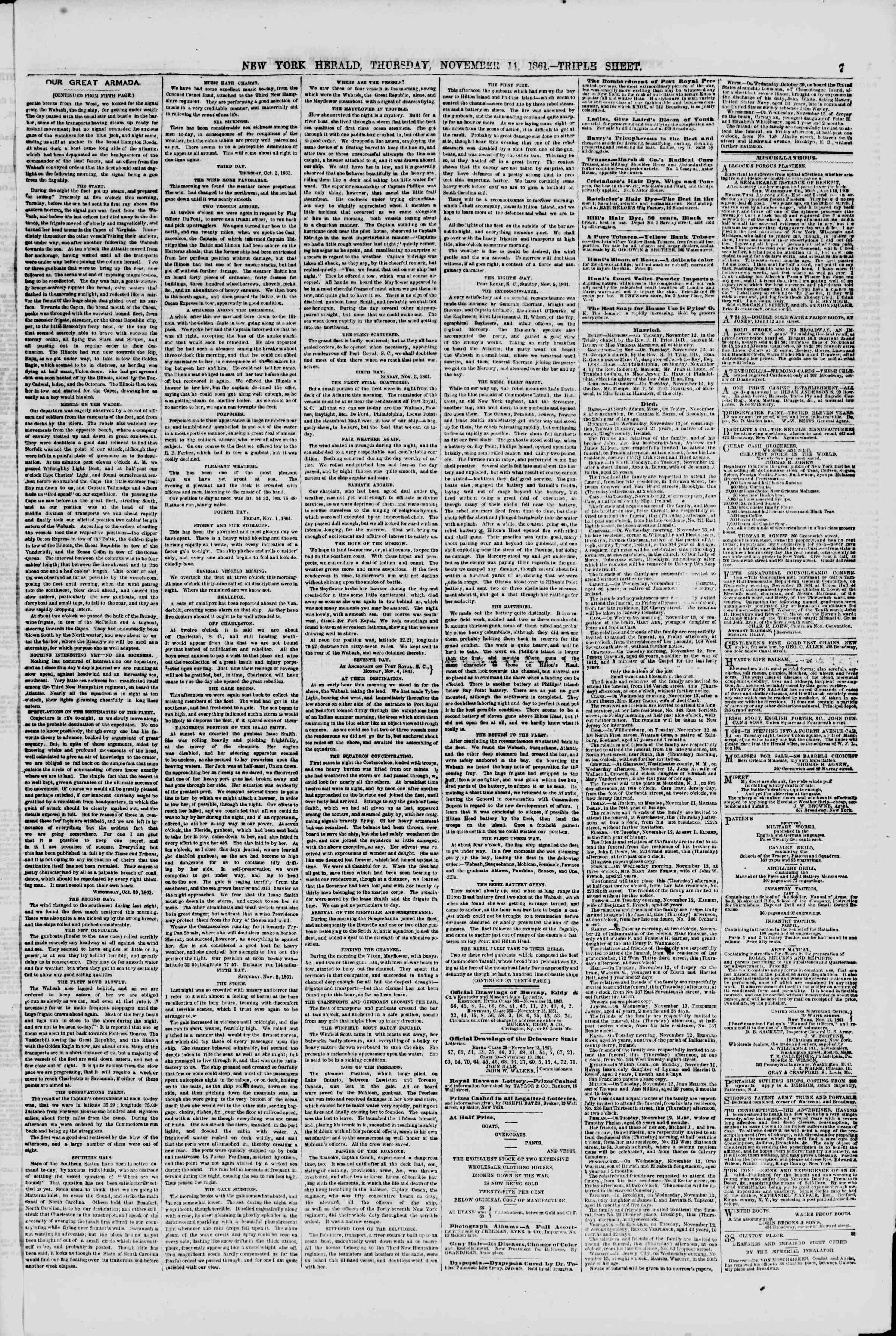Newspaper of The New York Herald dated November 14, 1861 Page 7