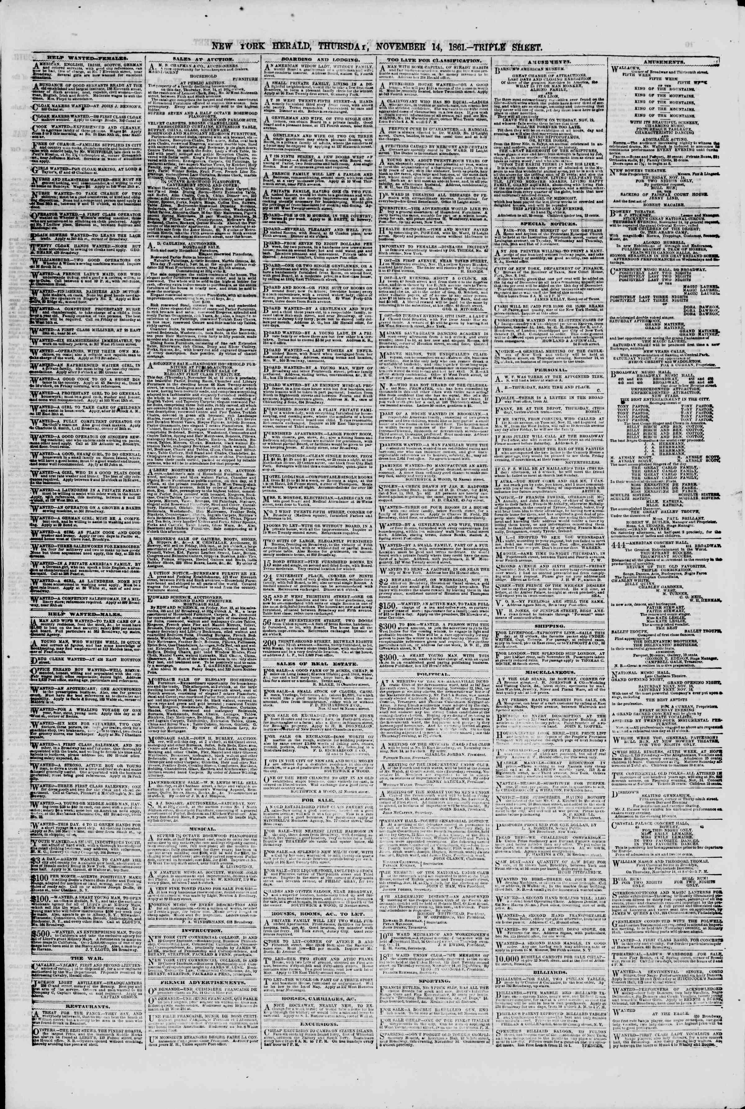 Newspaper of The New York Herald dated November 14, 1861 Page 9