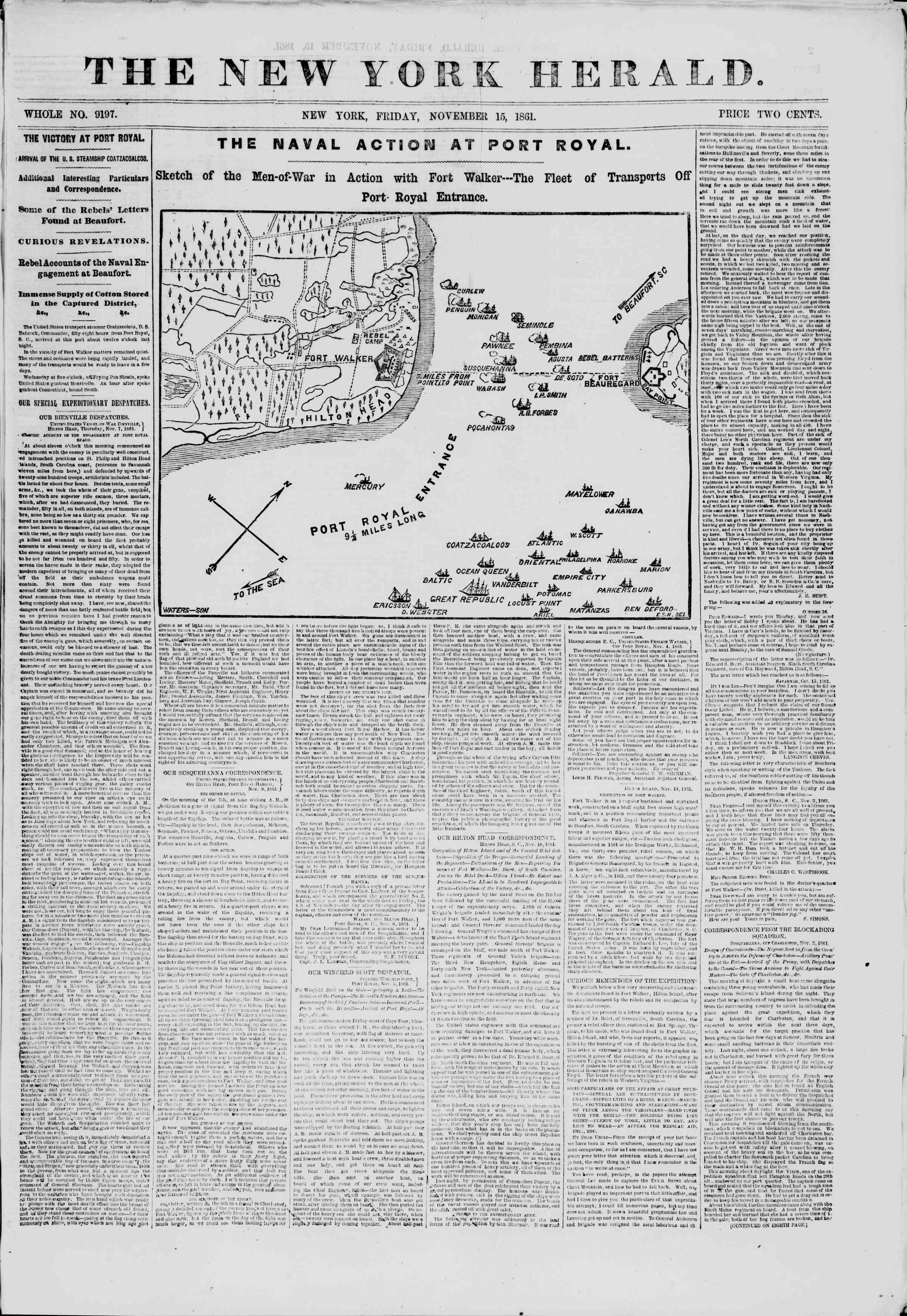 Newspaper of The New York Herald dated 15 Kasım 1861 Page 1