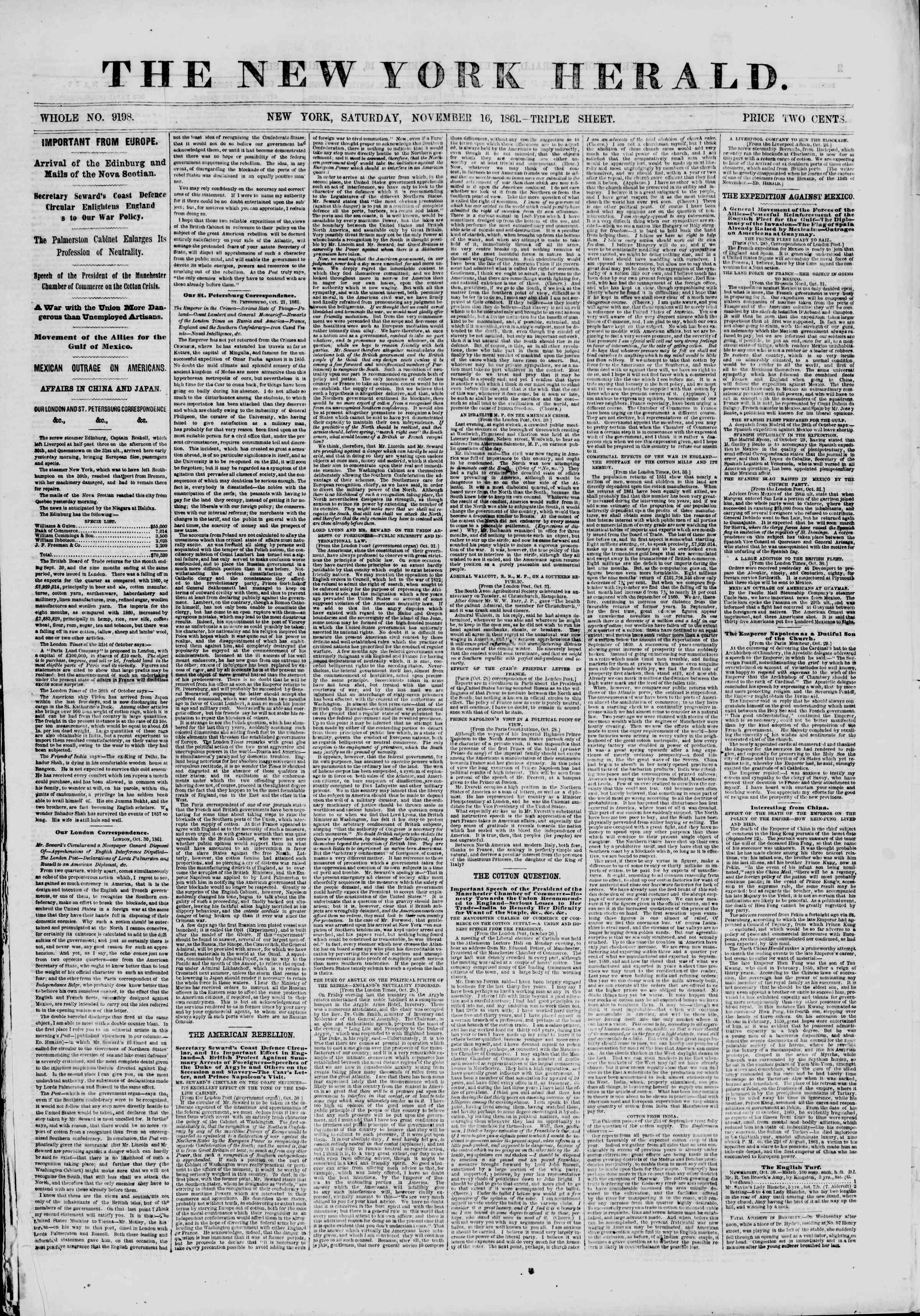 Newspaper of The New York Herald dated November 16, 1861 Page 1