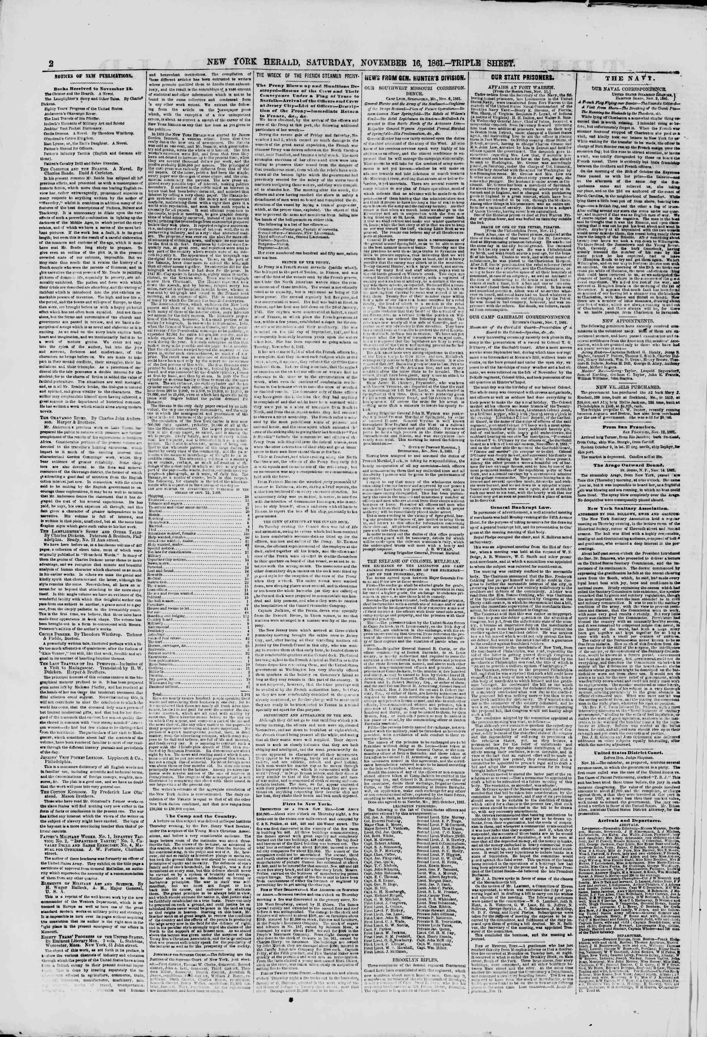 Newspaper of The New York Herald dated November 16, 1861 Page 2