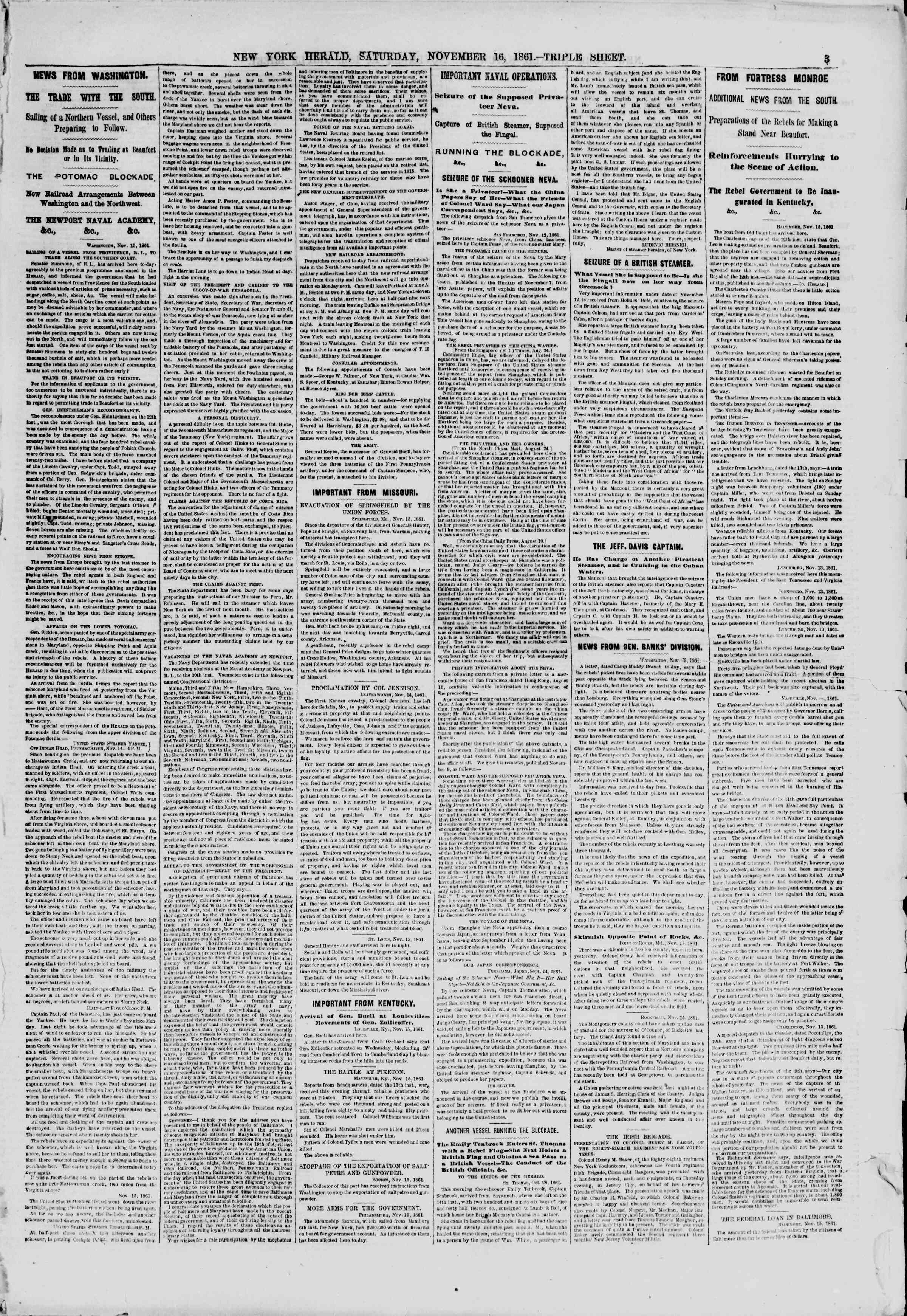 Newspaper of The New York Herald dated November 16, 1861 Page 3