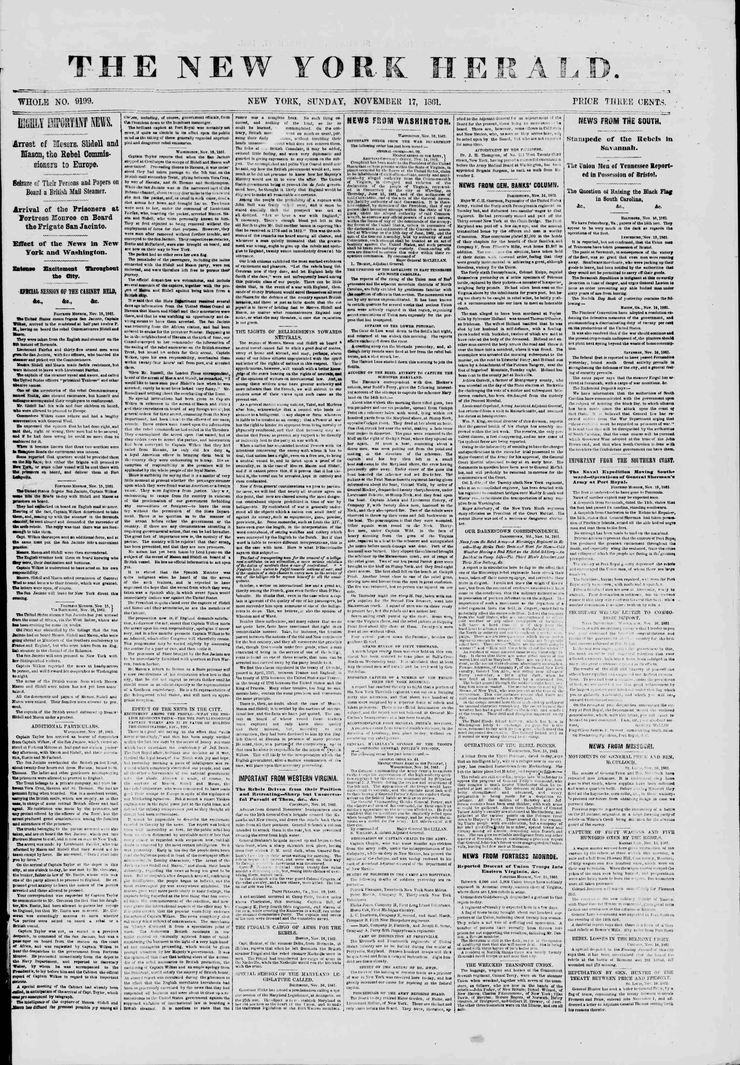 Newspaper of The New York Herald dated November 17, 1861 Page 1