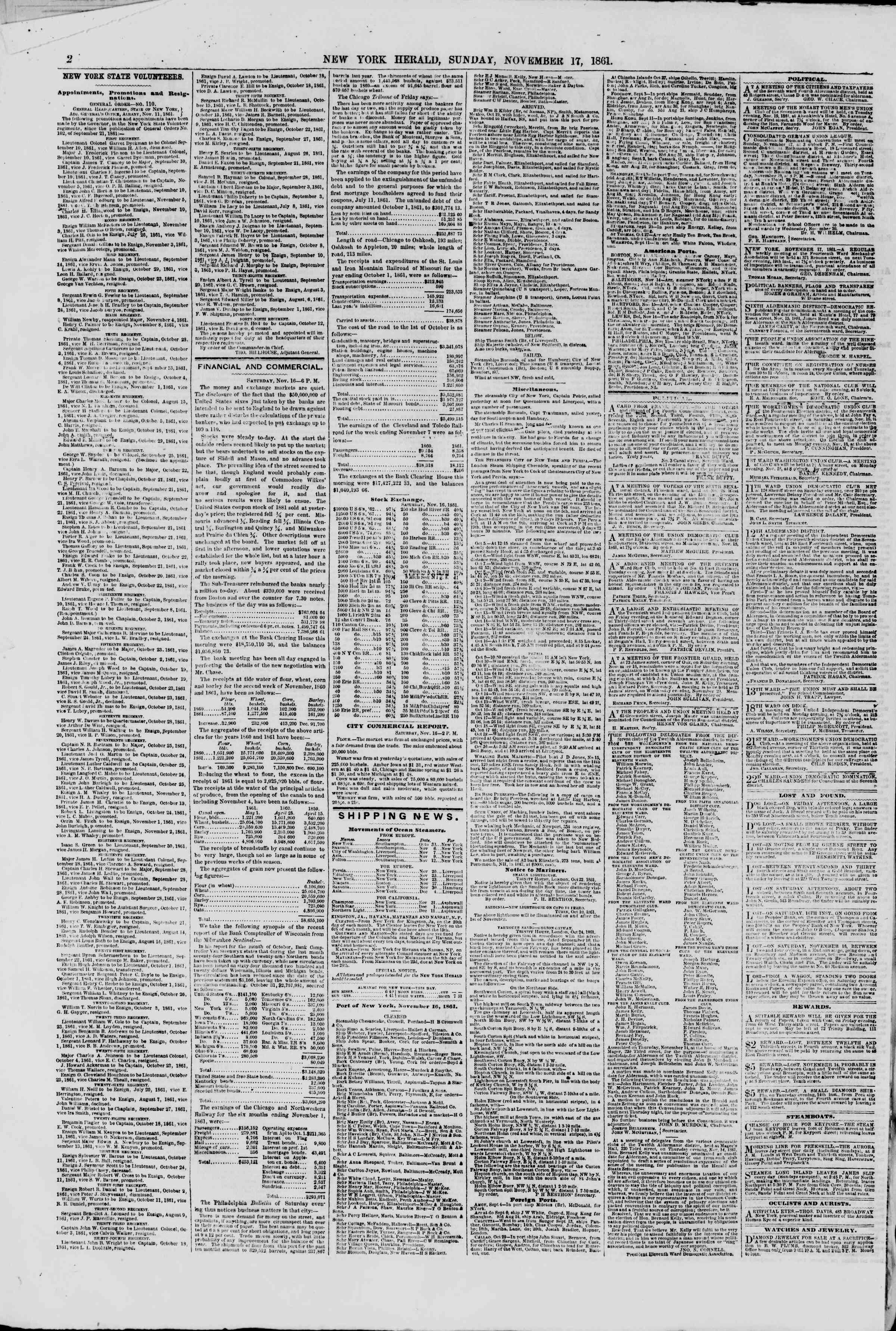 Newspaper of The New York Herald dated November 17, 1861 Page 2