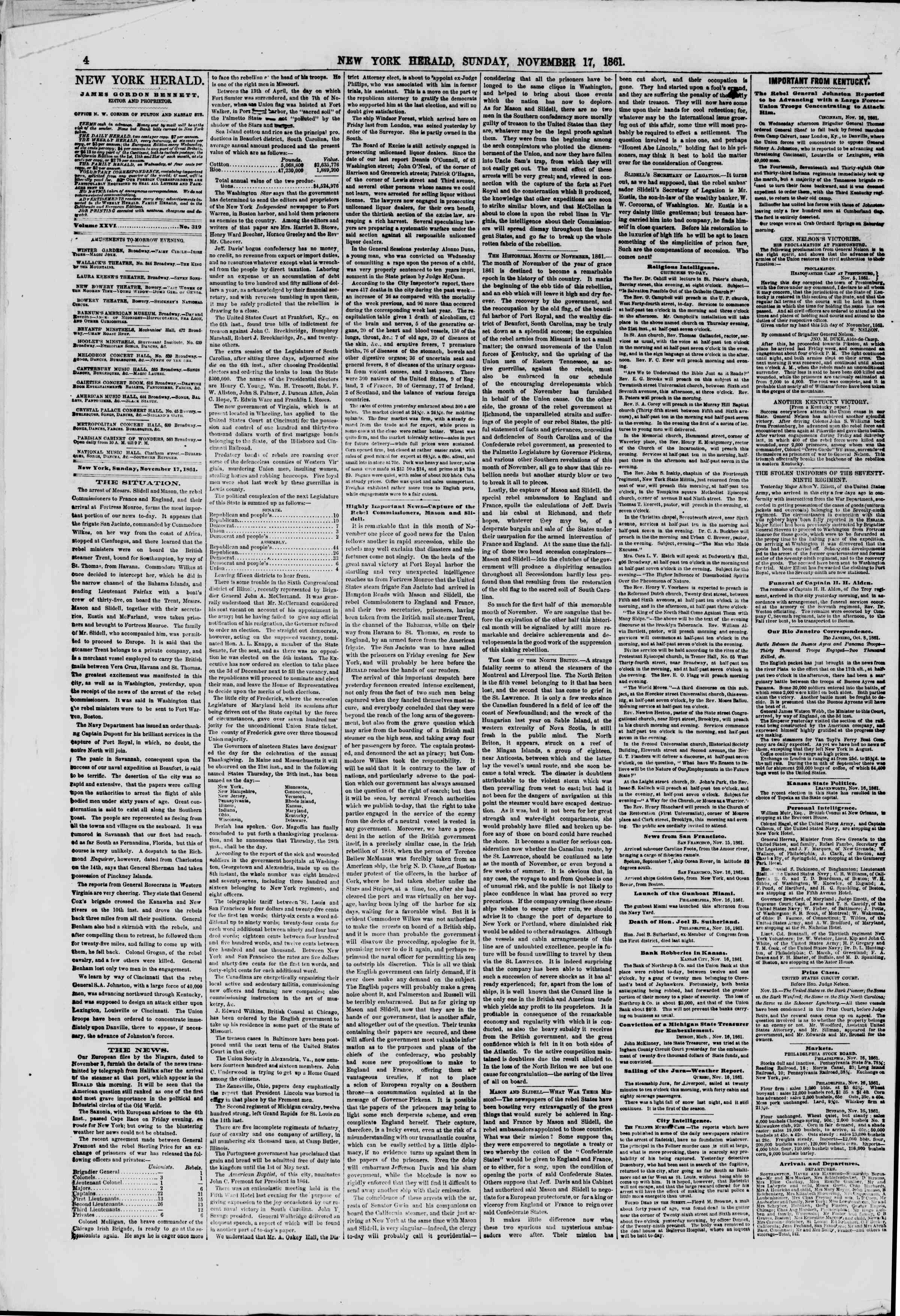 Newspaper of The New York Herald dated November 17, 1861 Page 4