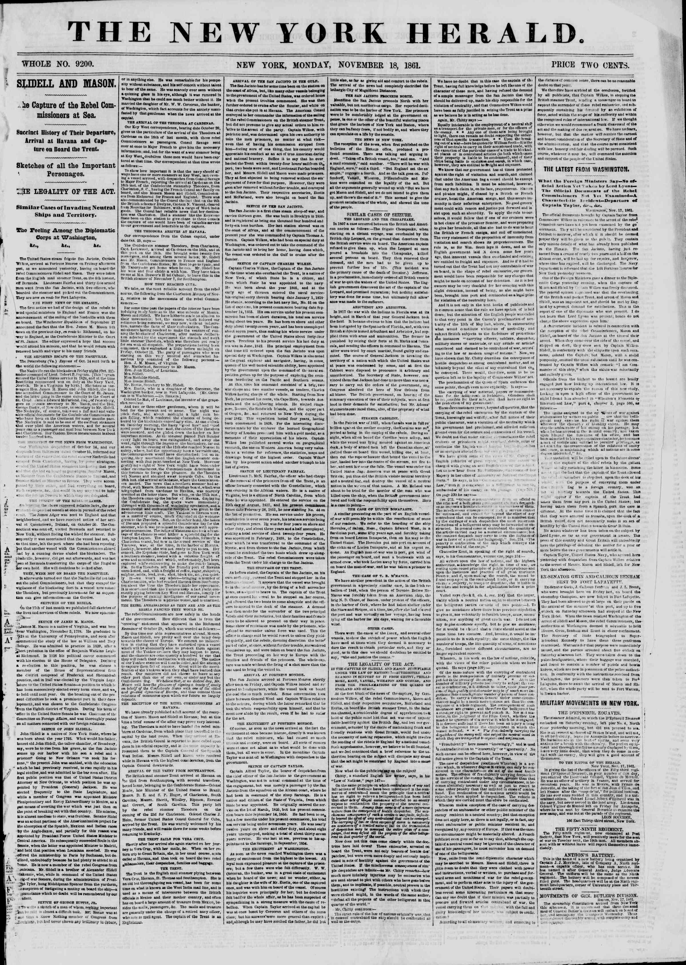 18 Kasım 1861 tarihli The New York Herald Gazetesi Sayfa 1