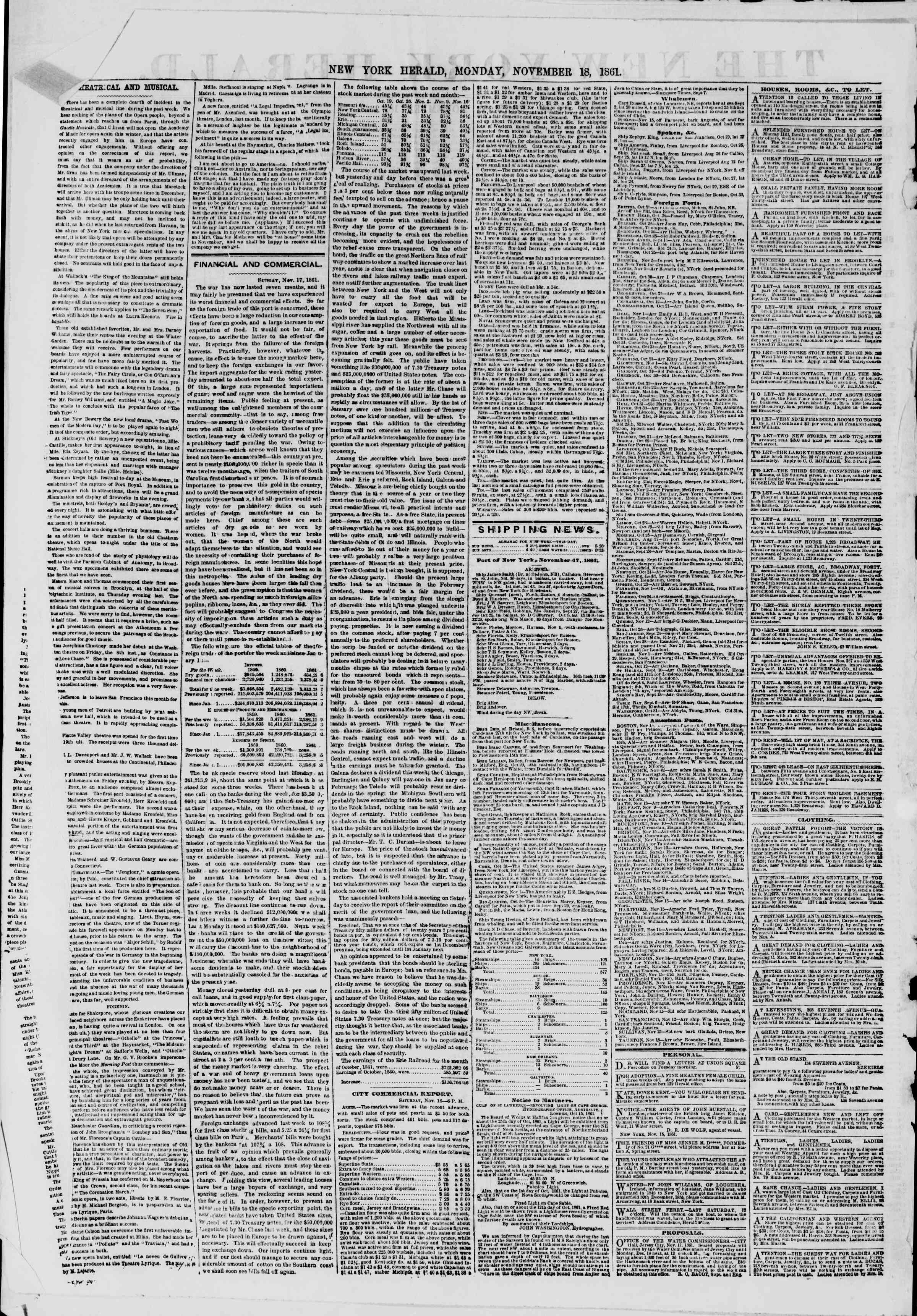 Newspaper of The New York Herald dated November 18, 1861 Page 2