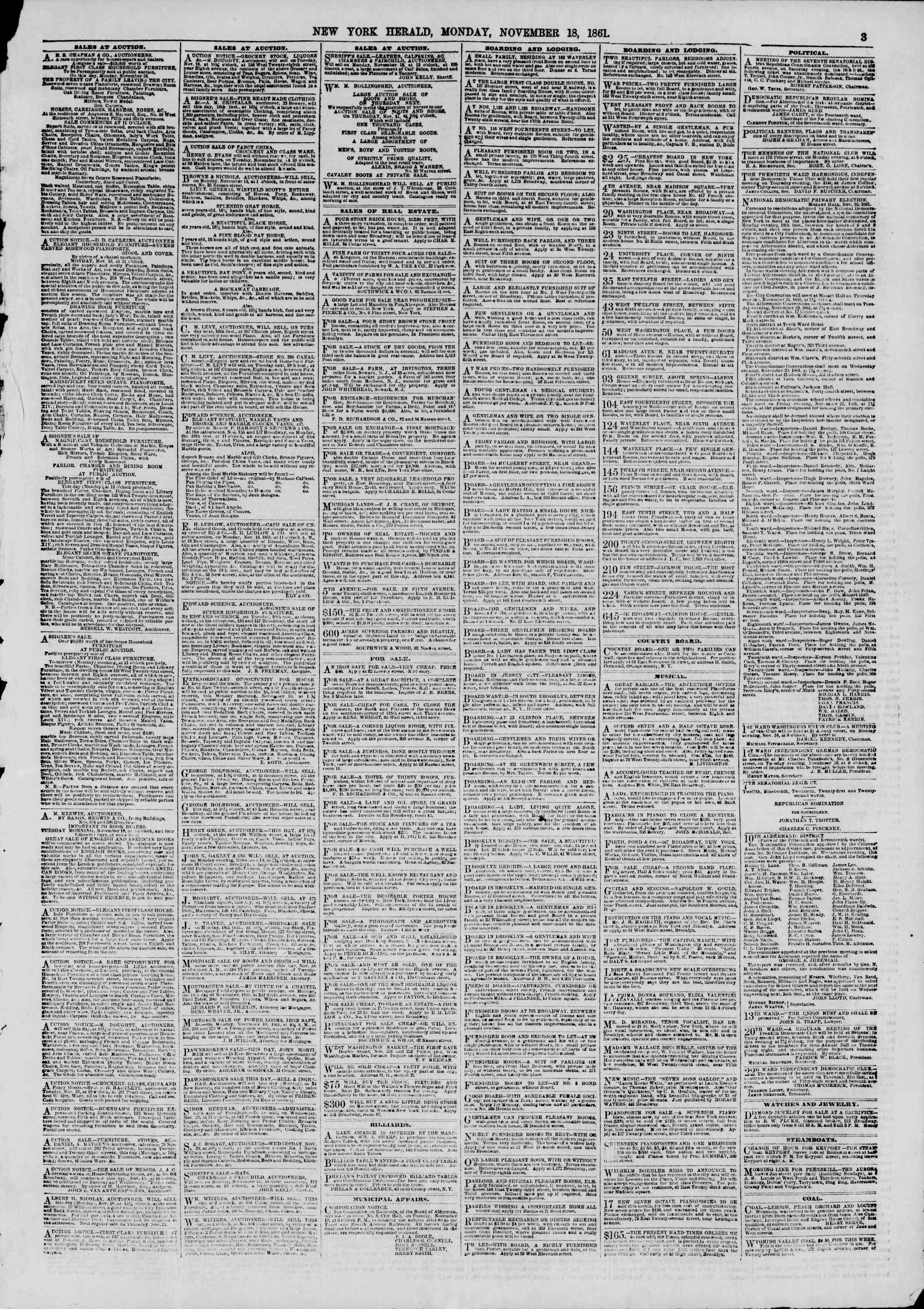 Newspaper of The New York Herald dated November 18, 1861 Page 3