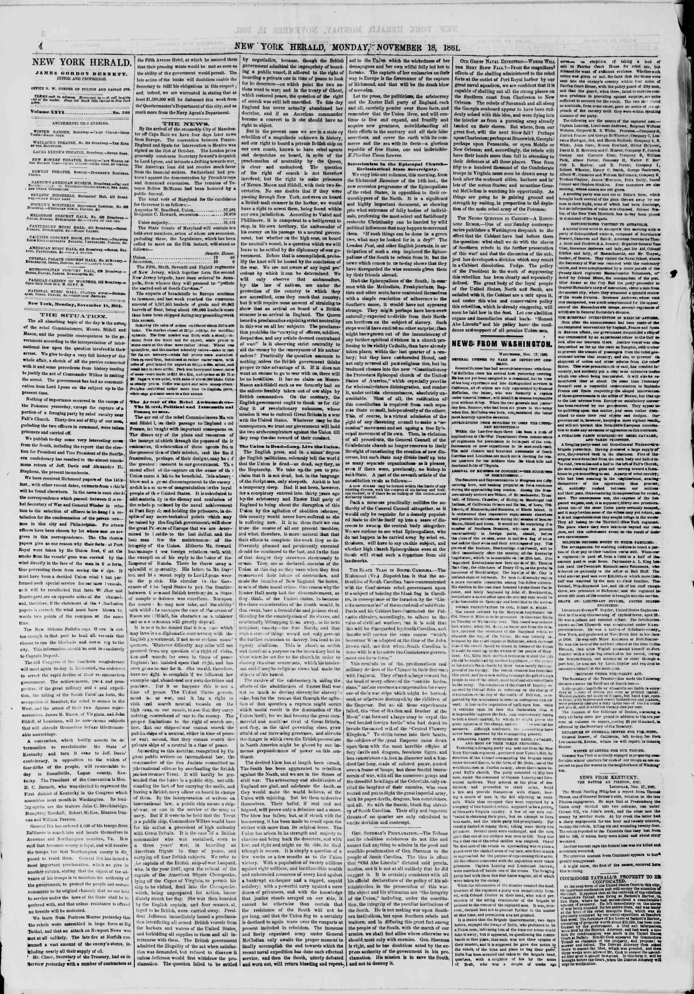 Newspaper of The New York Herald dated November 18, 1861 Page 4