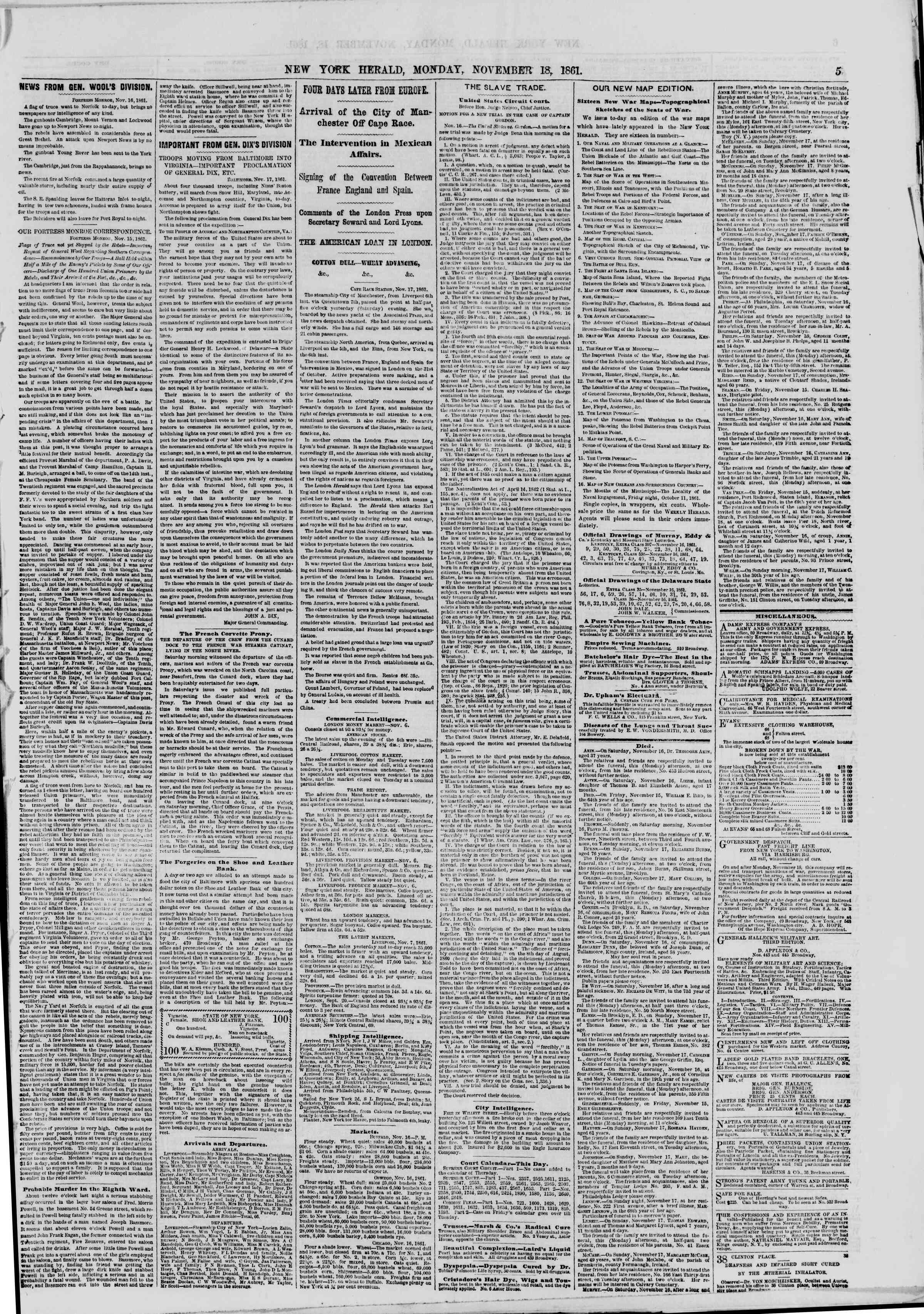 Newspaper of The New York Herald dated November 18, 1861 Page 5