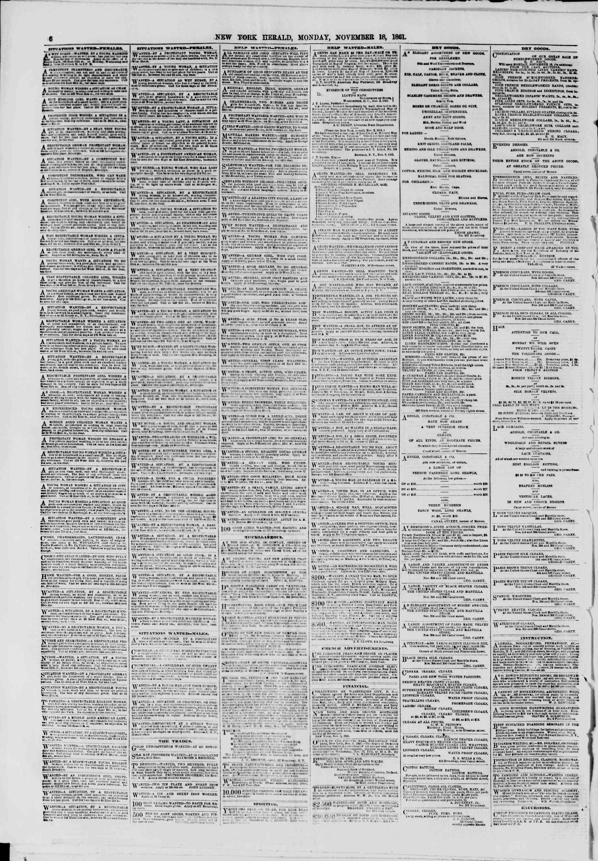 November 18, 1861 tarihli The New York Herald Gazetesi Sayfa 6