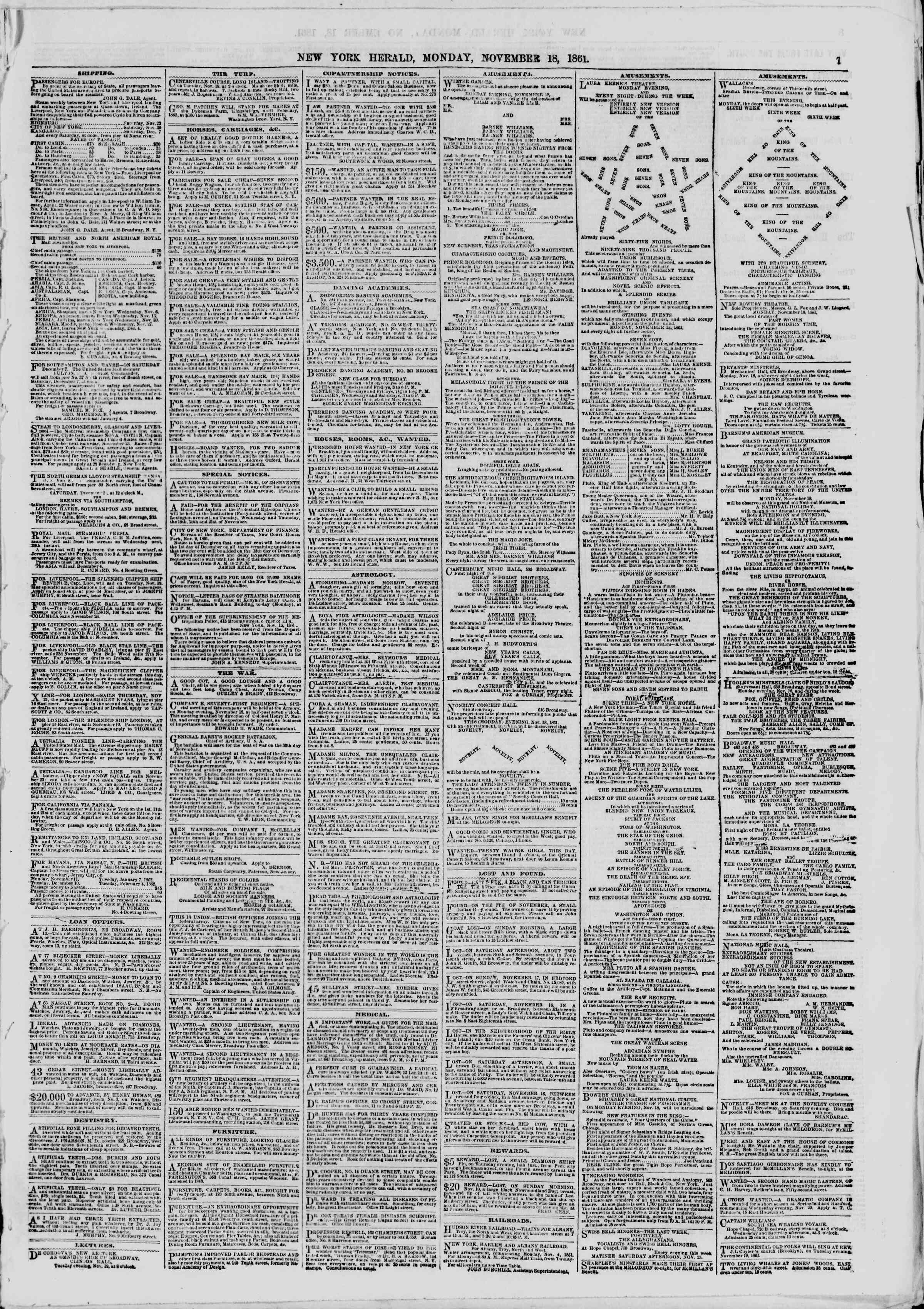 Newspaper of The New York Herald dated November 18, 1861 Page 7